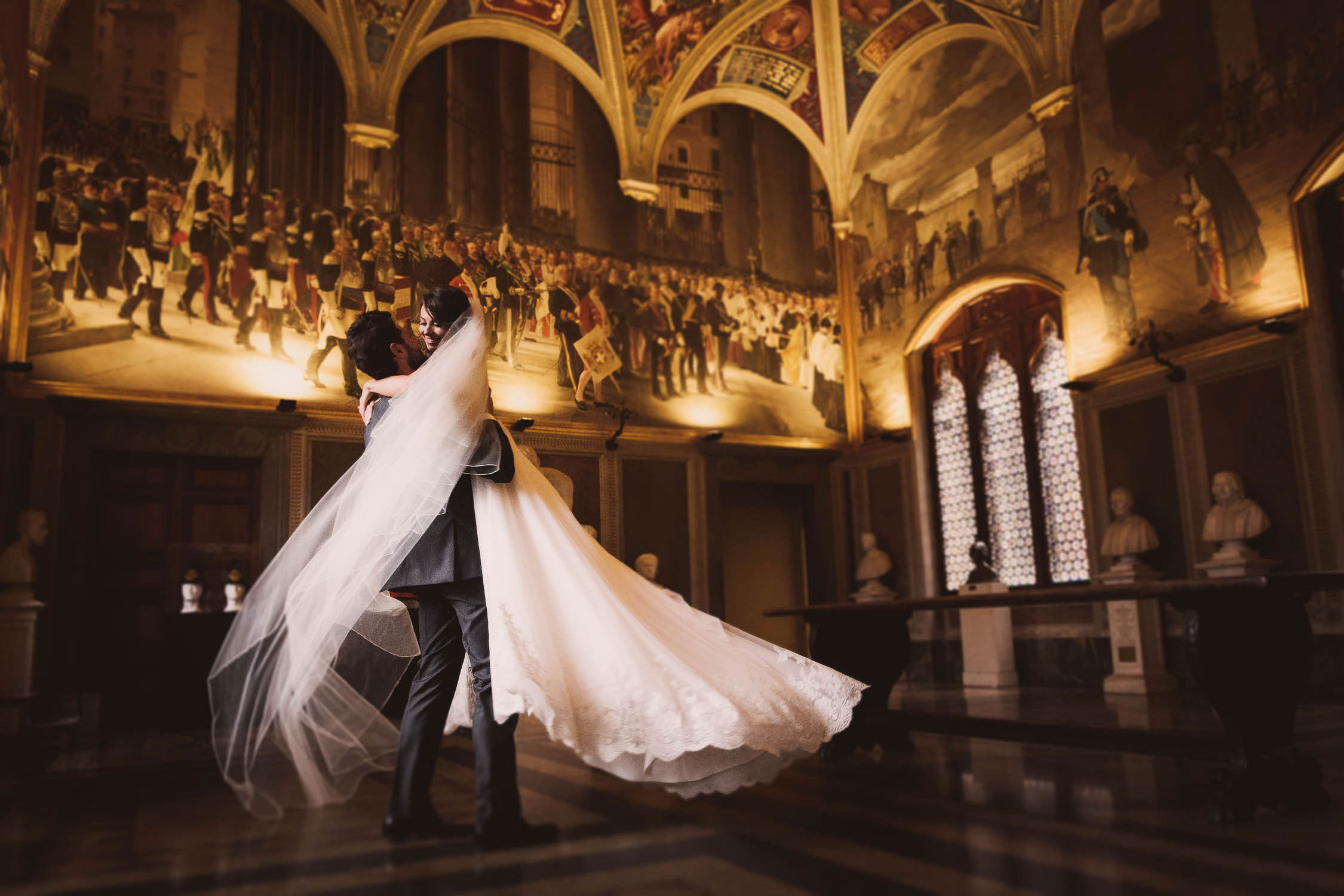 Bride Groom Wedding Portrait In Siena At Palazzo Pubblico For A Gorgeous Intimate Destination
