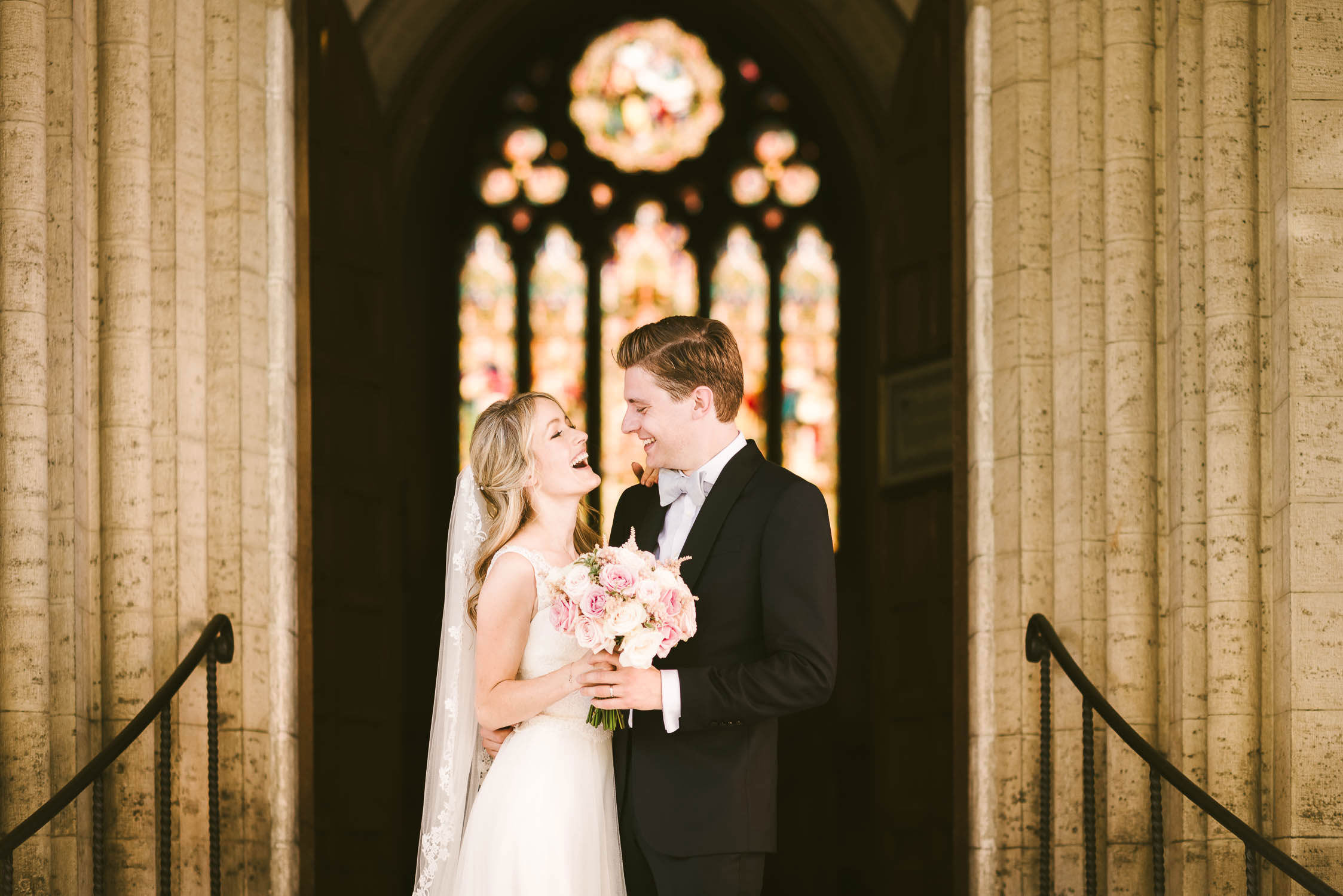 Bride and groom portrait at St. James Church in Florence