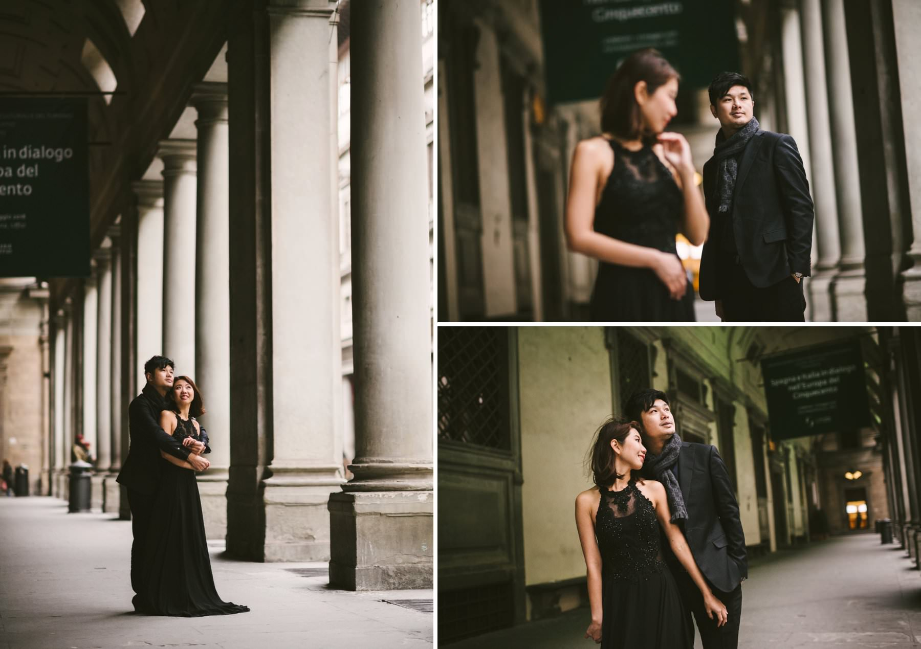 Engagement photos in Uffizi Art Gallery near Palazzo Vecchio in the center of Florence. Photos by the vacation photographer in Tuscany Gabriele Fani.