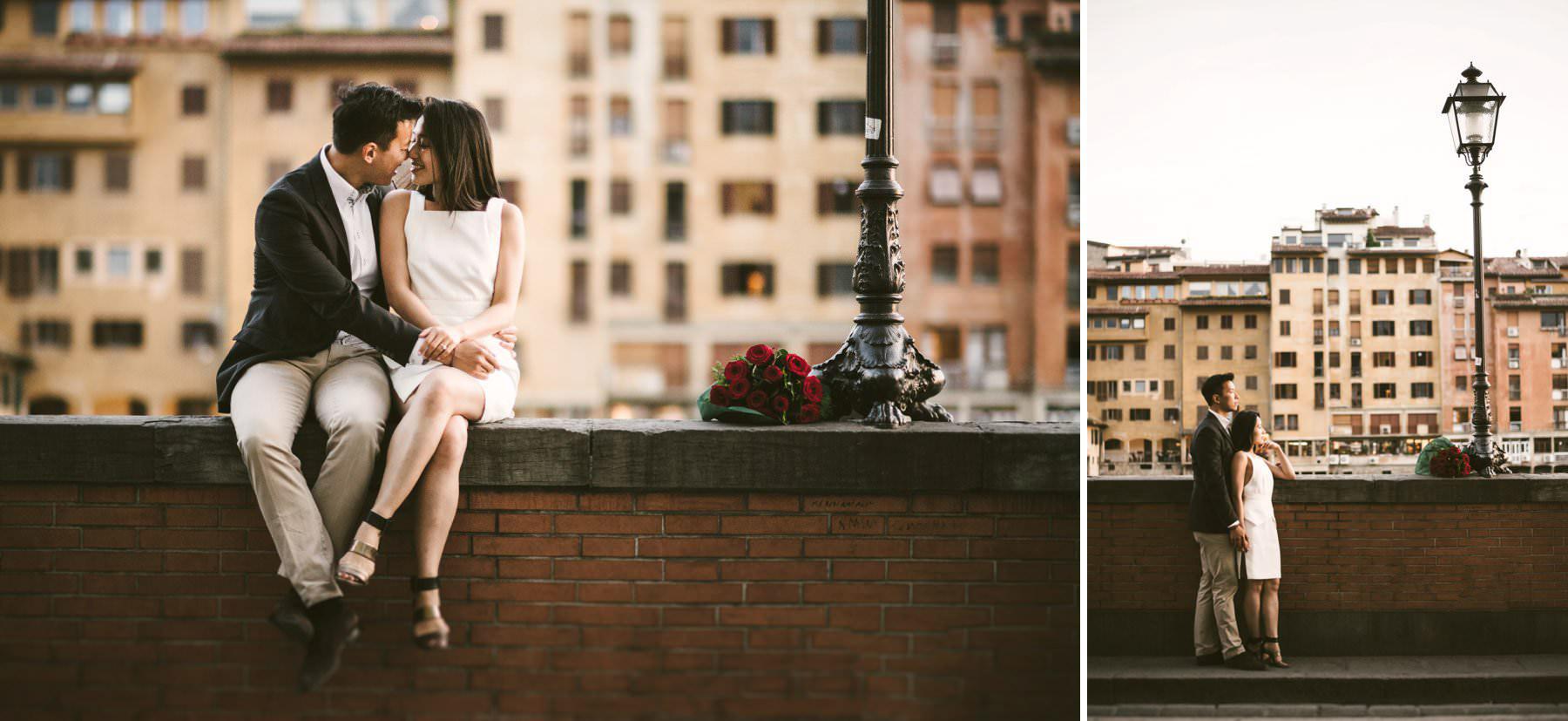 Florence romantic engagement photo shoot near Ponte Vecchio