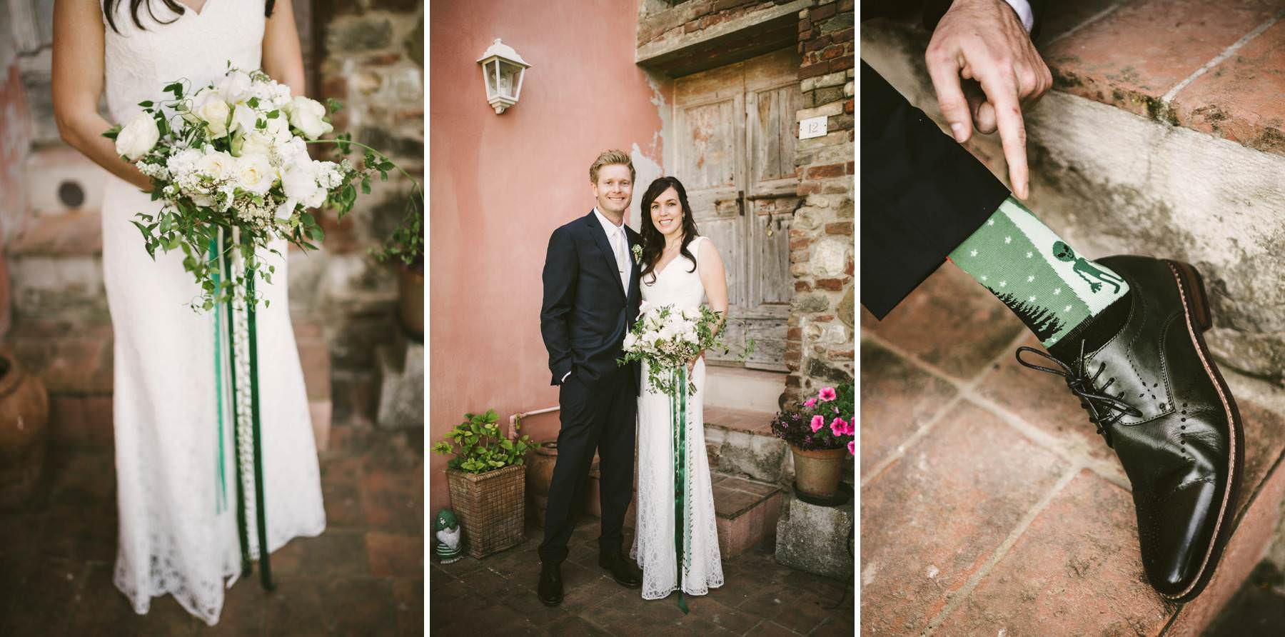 Elopement in Tuscany at medieval borgo of Peccioli