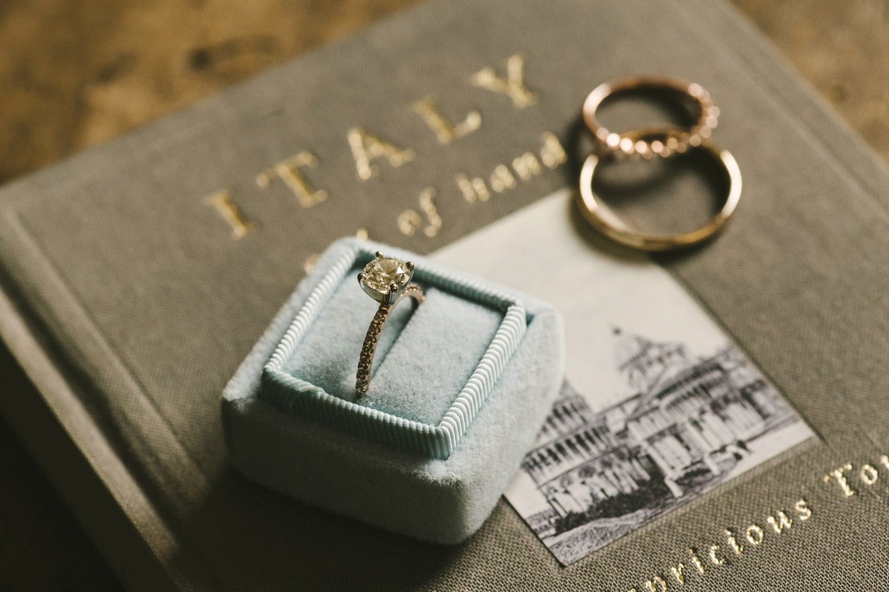 Bride engagement ring. Intimate elopement in tuscan farmhouse Casetta near Florence in Chianti area