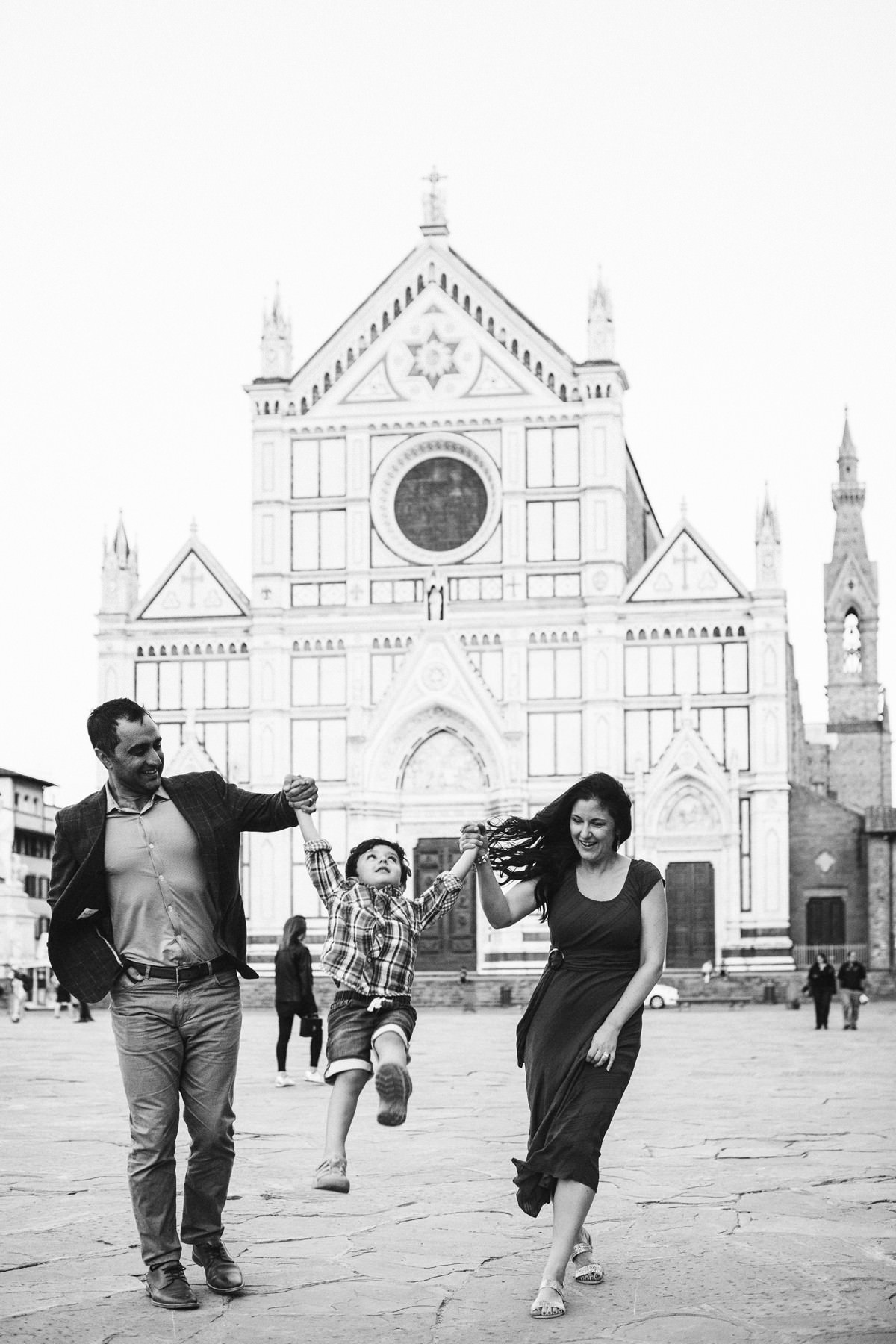 Family photo shoot in Piazza Santa Croce Florence