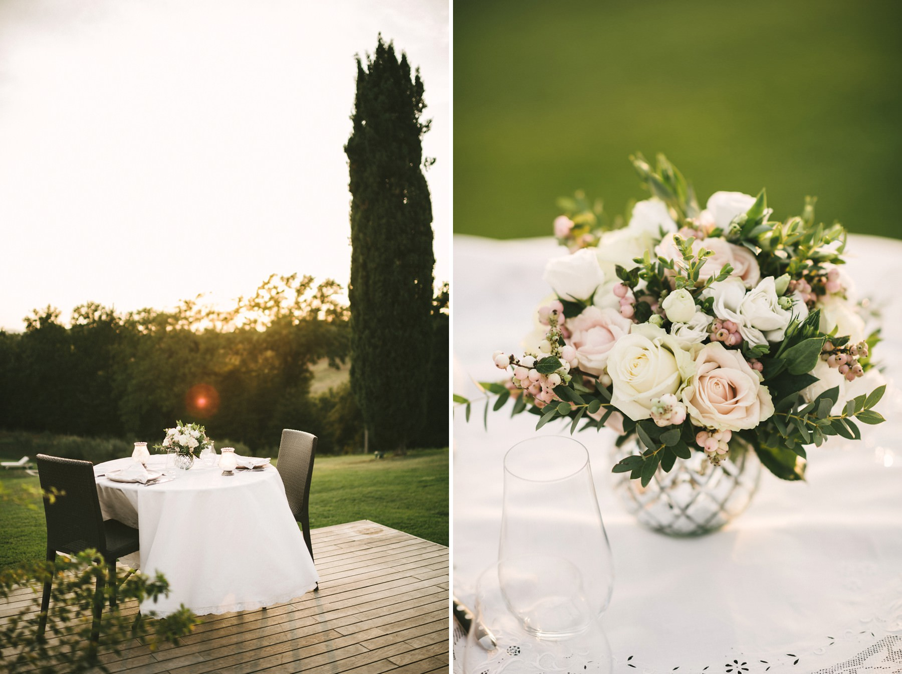 Charming sunset dinner setting for Lillianna & Ross elopement in Tuscany countryside Casetta farmhouse near Florence