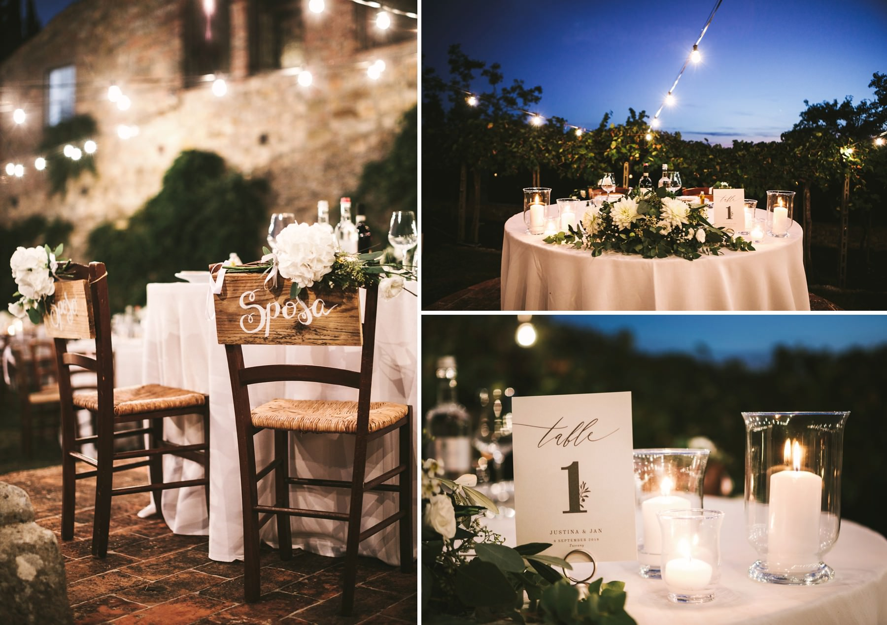 Stunning dinner setup at Montelucci Country Resort for a elegant destination wedding in Tuscany