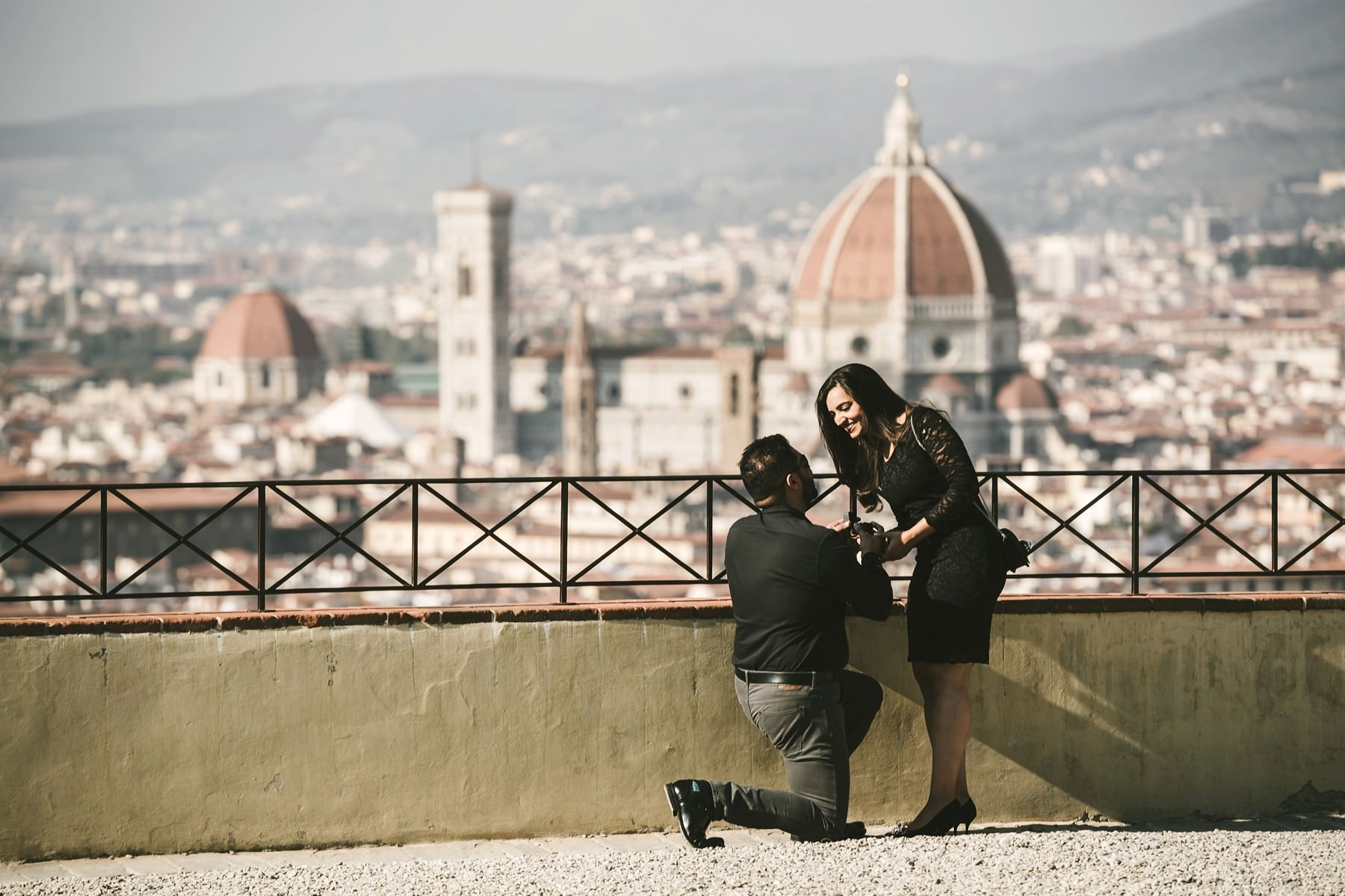 Unforgettable Florence panoramic surprise wedding proposal photo shoot