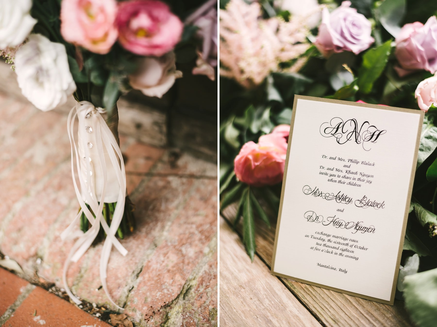 Elegant invitation stationery decor for intimate destination wedding in Val D'Orcia