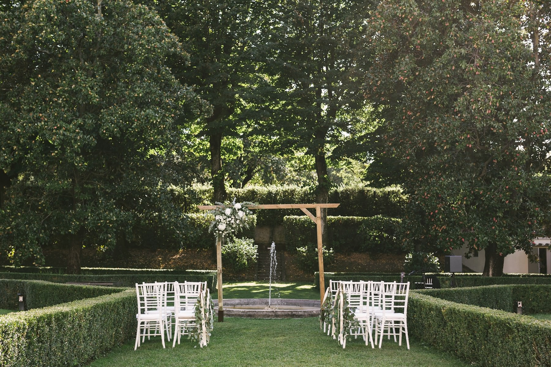Intimate destination wedding ceremony decor at Villa La Vedetta, Florence