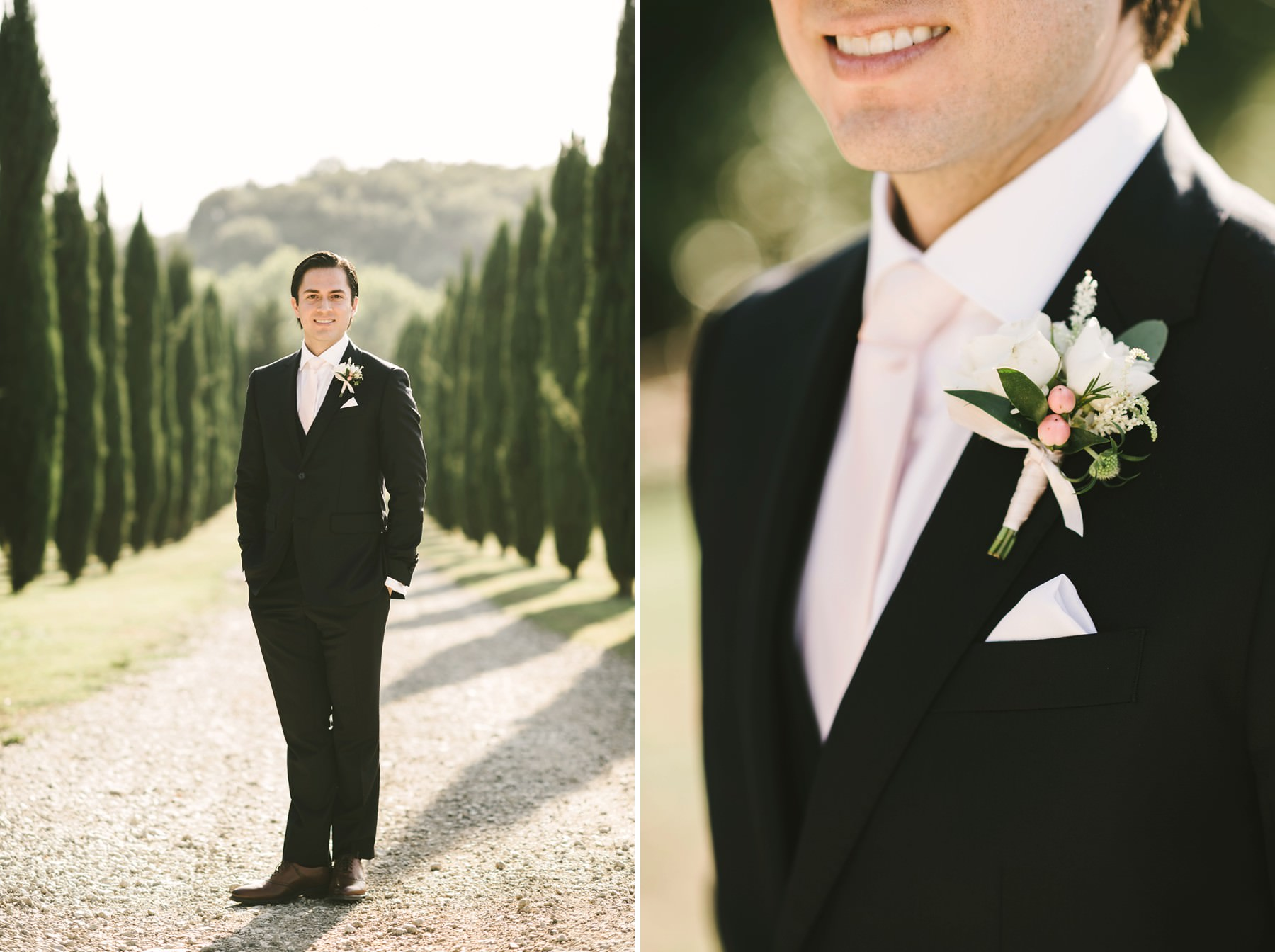 Groom Luis Enrique wait to see her bride for the first time in Tuscan cypress road at Villa La Selva resort