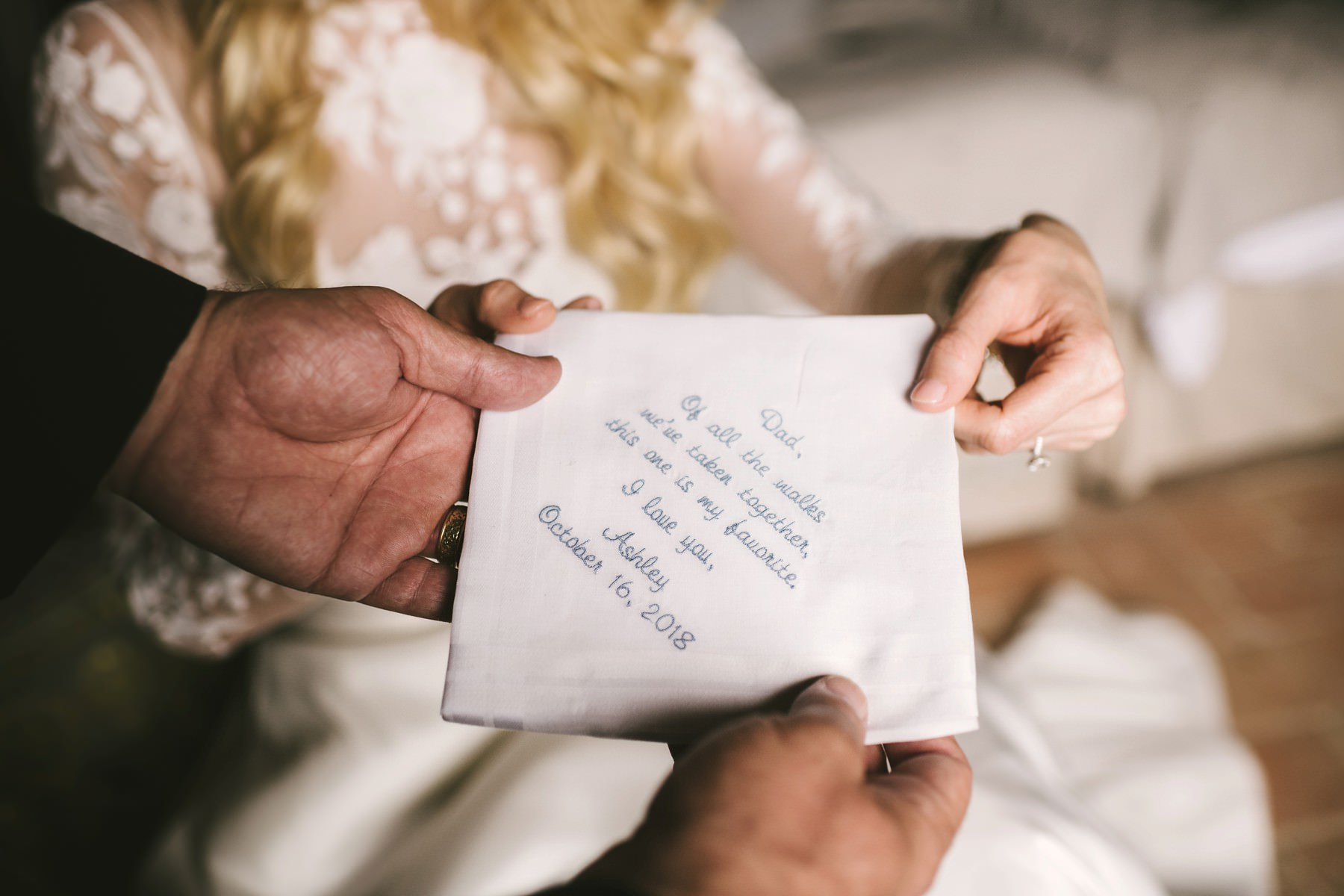 Father daughter exchange of gift intimate destination wedding in Tuscany