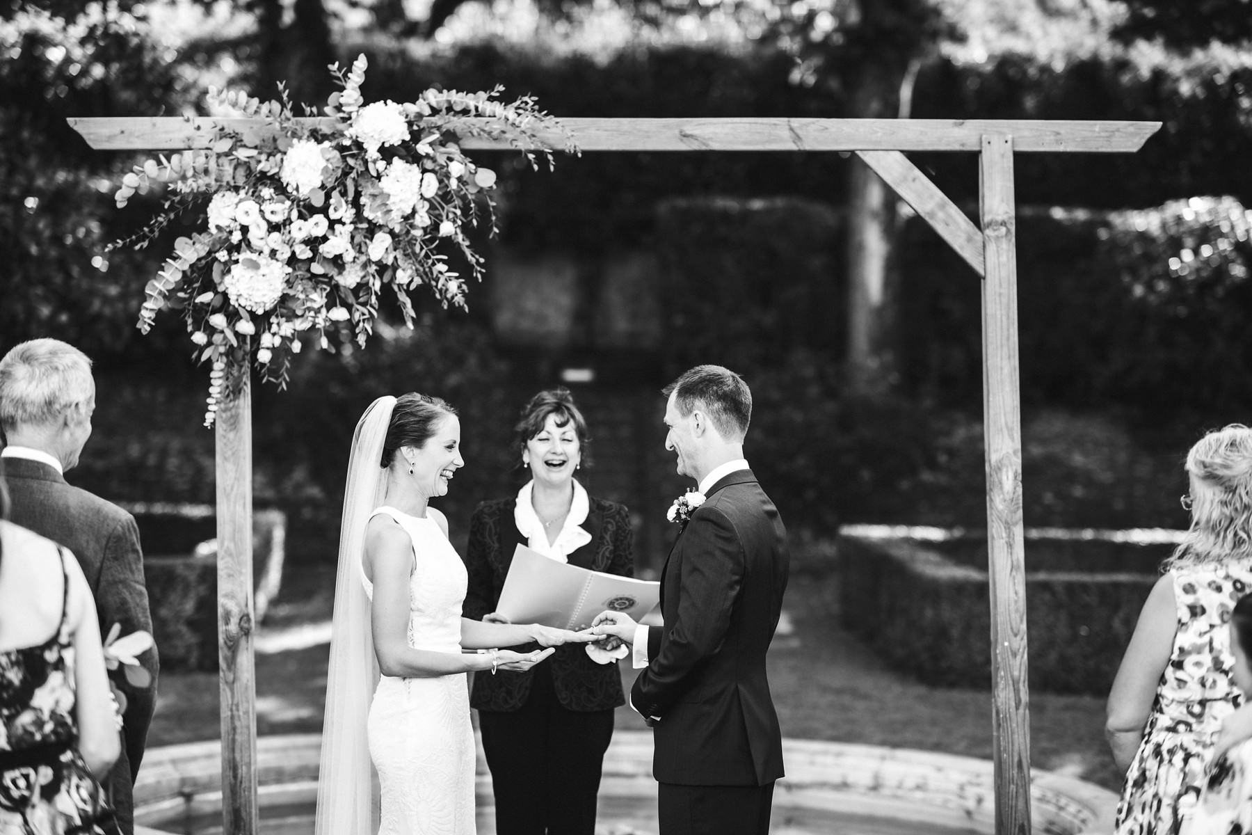 Bride and groom exchange of rings at Villa La Vedetta, Florence