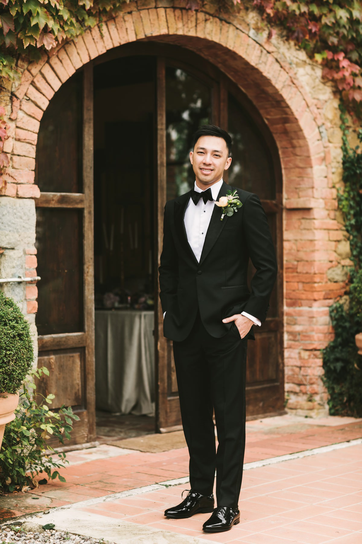 Groom portrait. Destination wedding in Tuscany