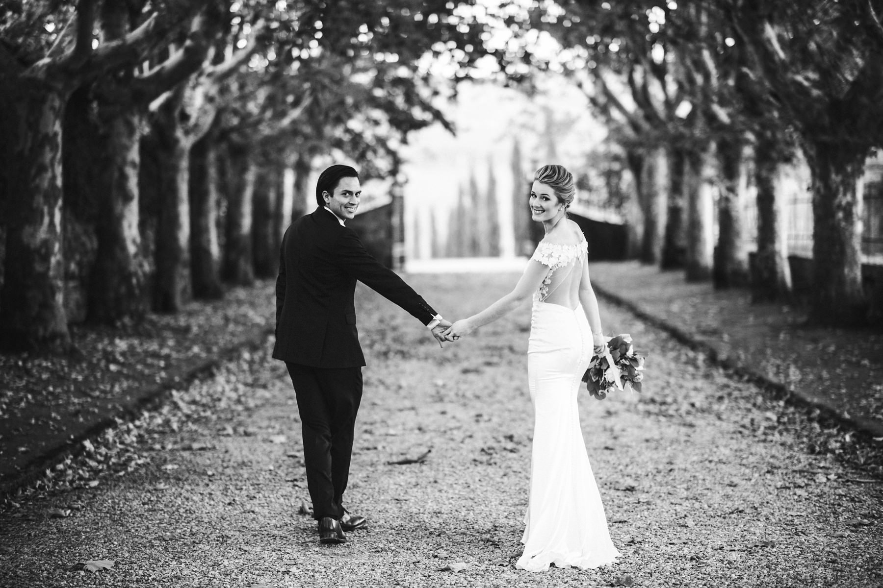 Bride and groom walk tour portrait session at Villa La Selva