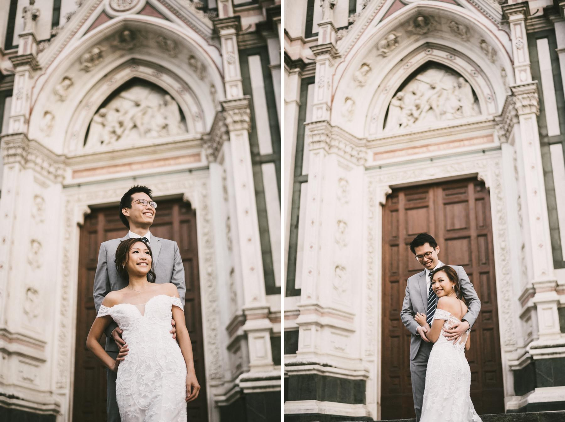Engagement pre wedding photo shoot in Florence with wedding gown Santa Croce