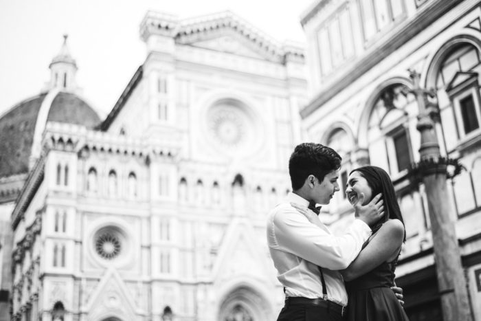 Couple portrait vacation engagement photo session in Florence, Tuscany