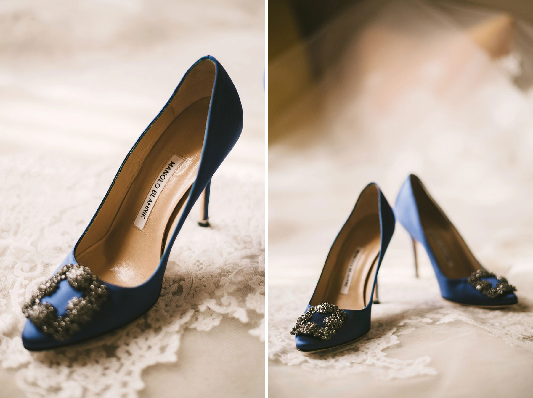 Elegant Manolo Blahnik wedding shoes