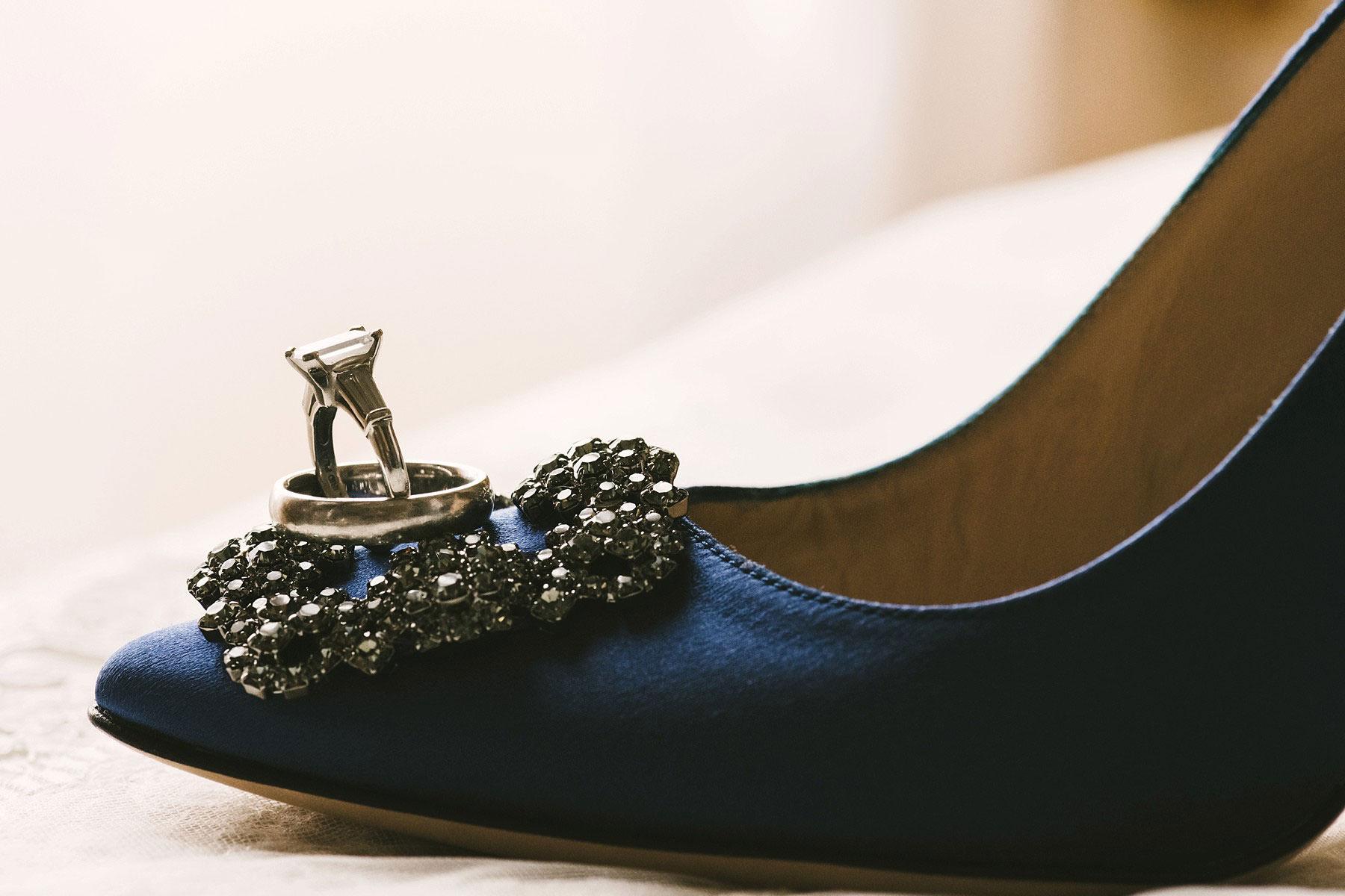 Elegant engagement ring on Manolo Blahnik wedding shoes