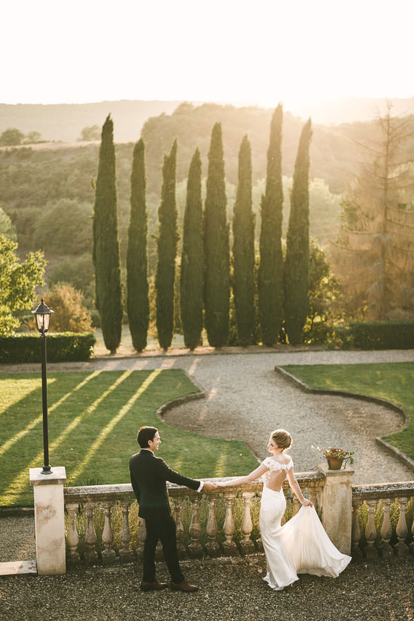Gorgeous and dreamy elopement wedding portrait in Tuscany countryside Villa La Selva resort
