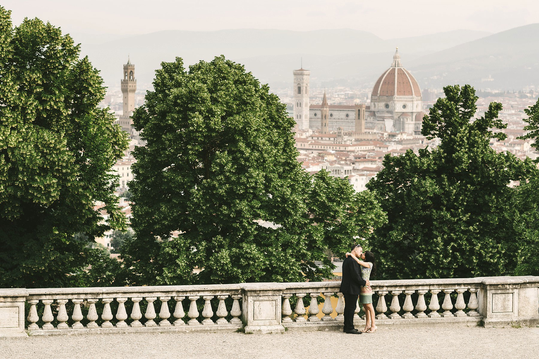 Build your memories during your vacation in Florence. Sunrise engagement photo shoot at San Miniato al Monte near Piazzale Michelangelo