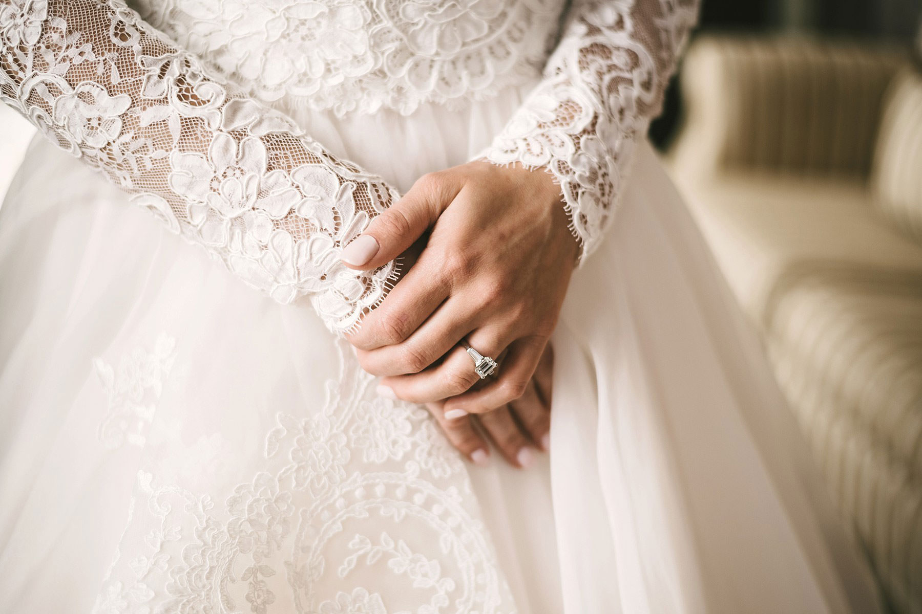 Lovely detail of bride Cecily and her gorgeous wedding gown by Justin Alexander