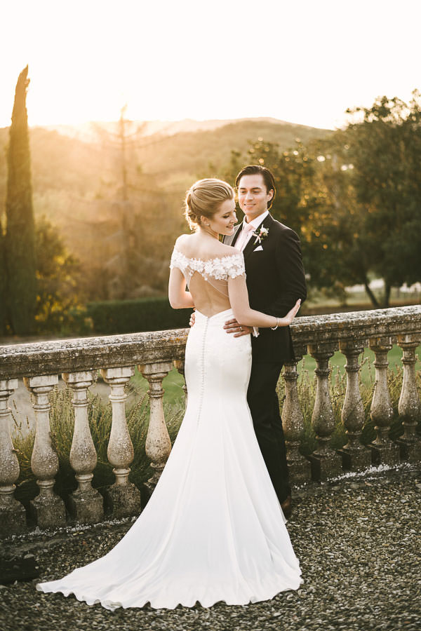 Elegance is an attitude. Beautiful couple elopement portrait under Tuscan sun at Villa La Selva Wine Resort