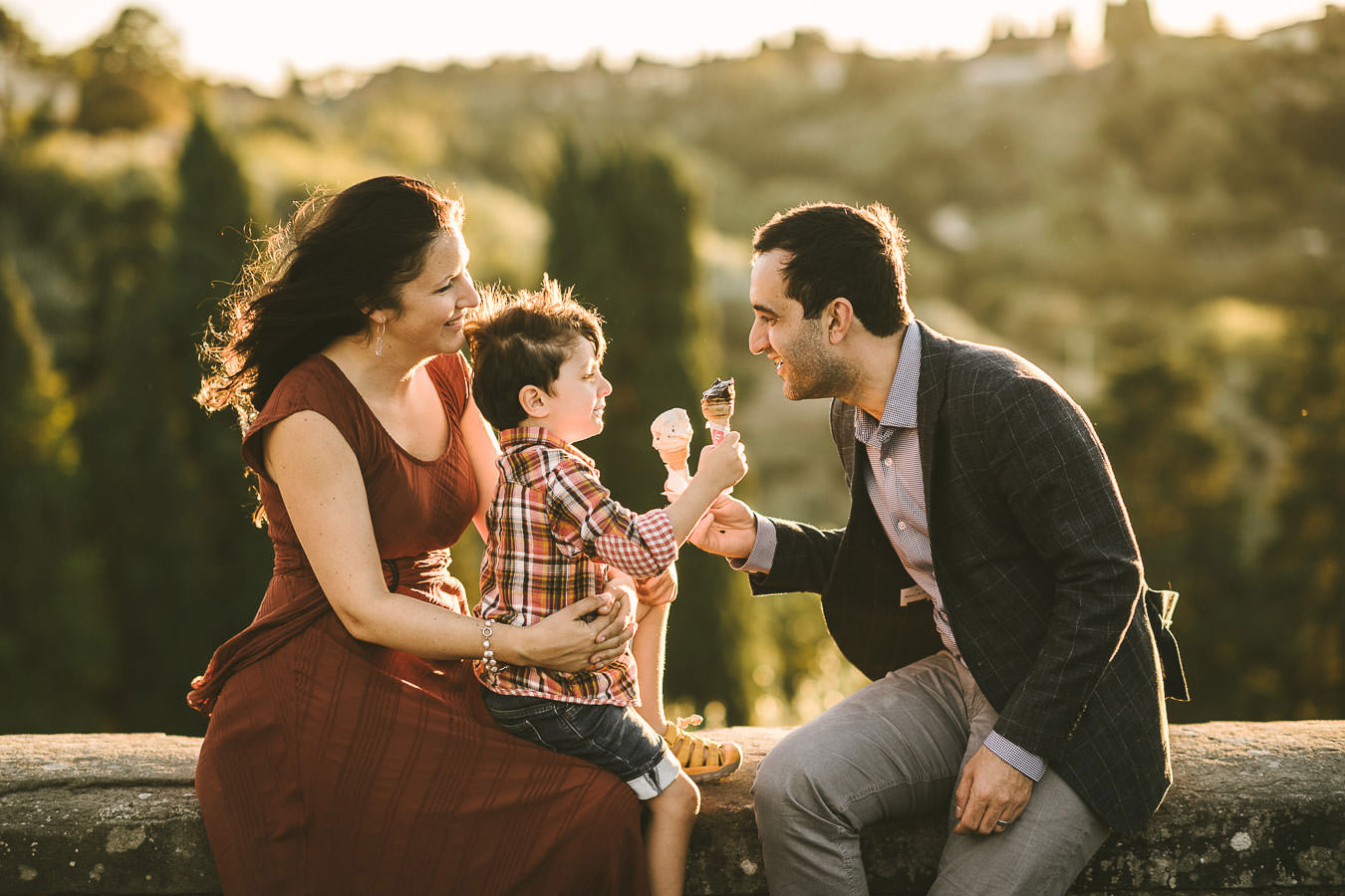 Lovely family photo shoot in Florence near Piazzale Michelangelo