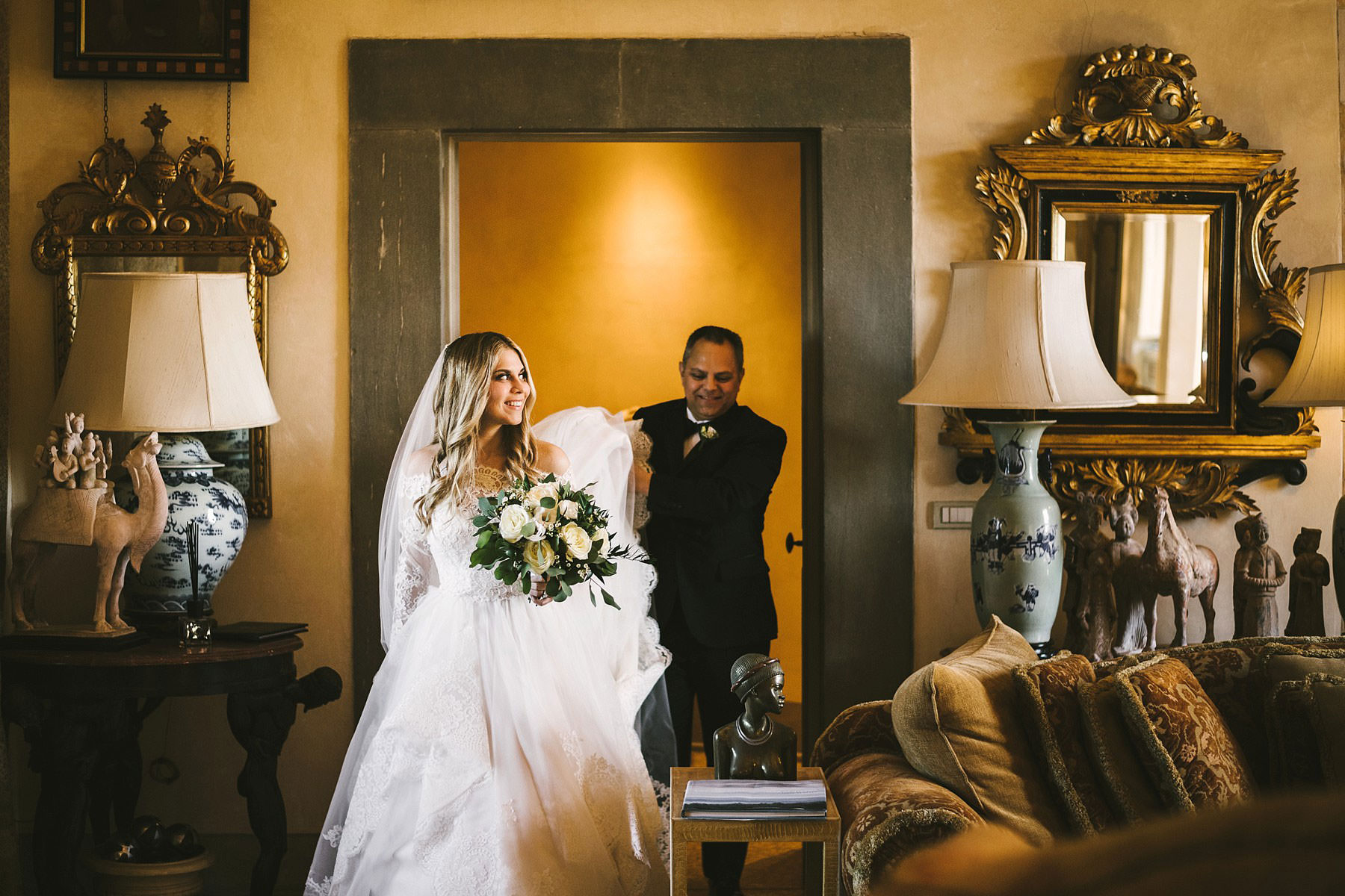 Beautiful bride Cecily in Justin Alexander wedding dress at Villa Mangiacane Chianti