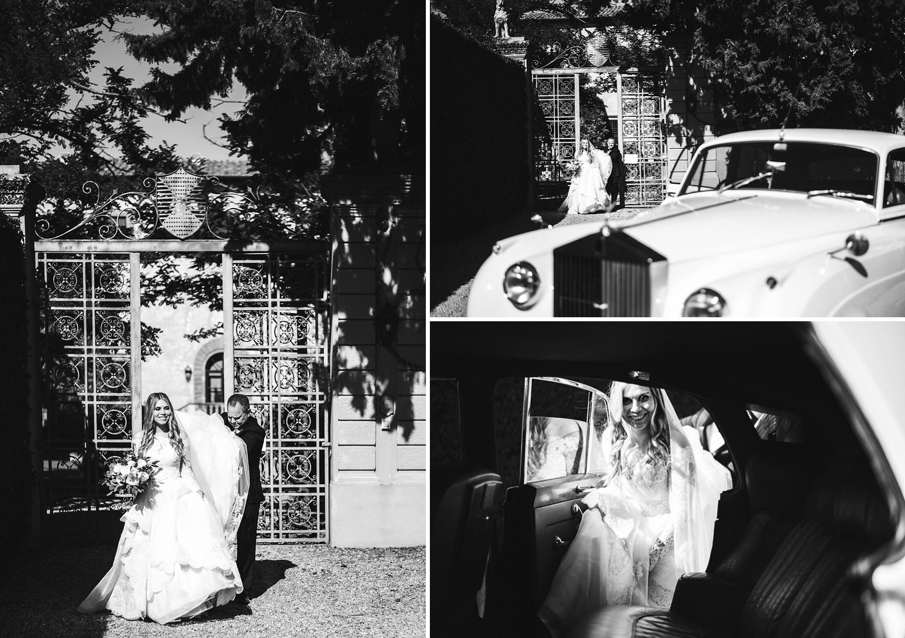Bride and father leave Villa Mangiacane with Rolls Royce vintage car for the Church