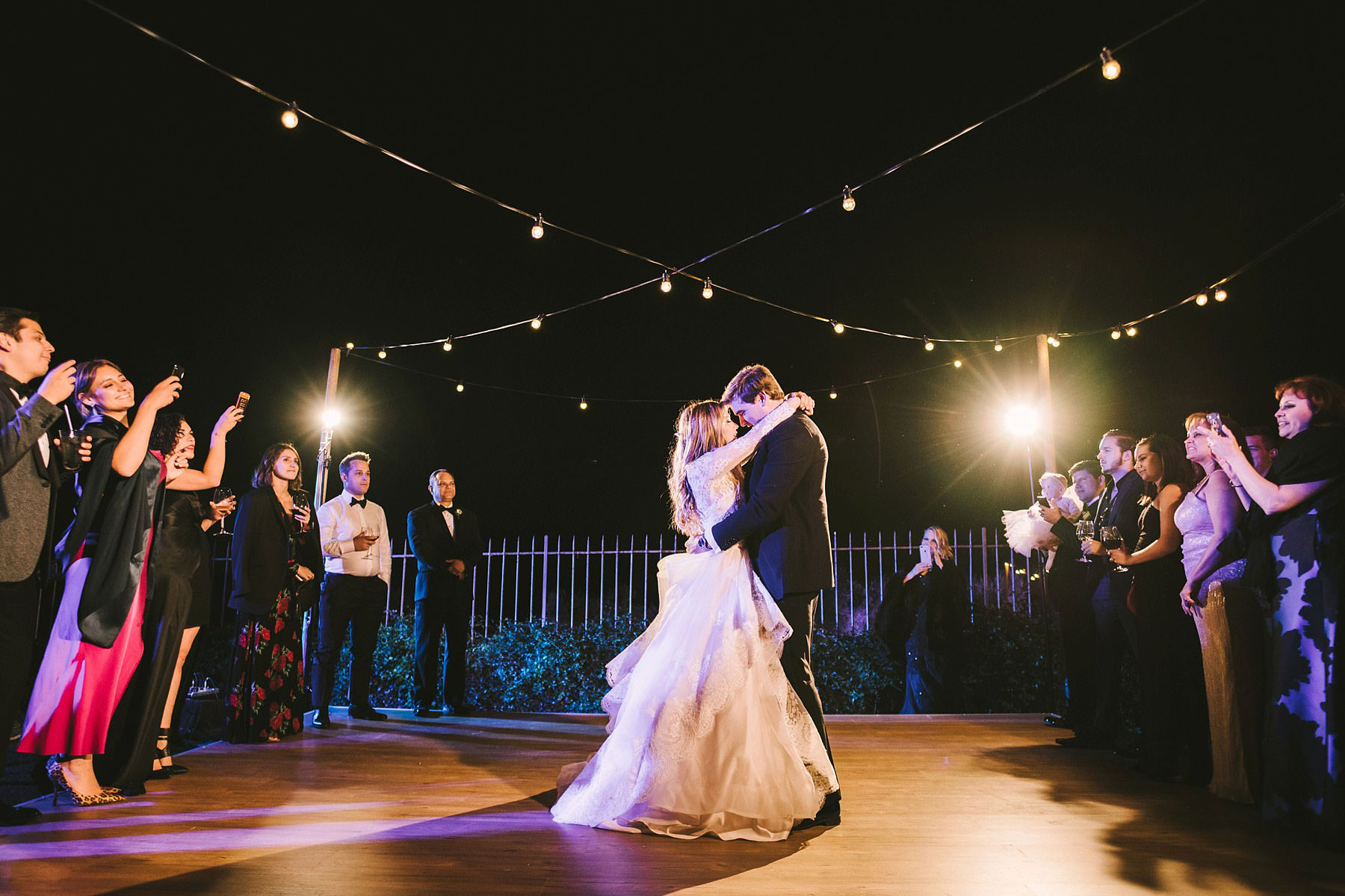 Bride and groom first dance at Villa Mangiacane for intimate destination wedding in the heart of Chianti