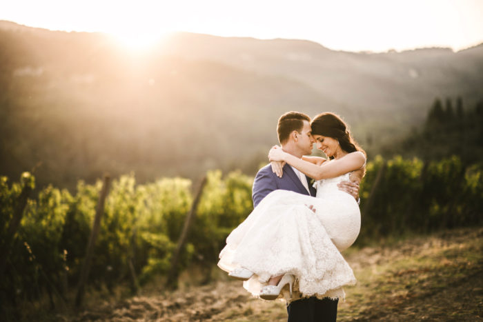 Intimate destination vineyard wedding in Tuscany countryside near Castello del Trebbio