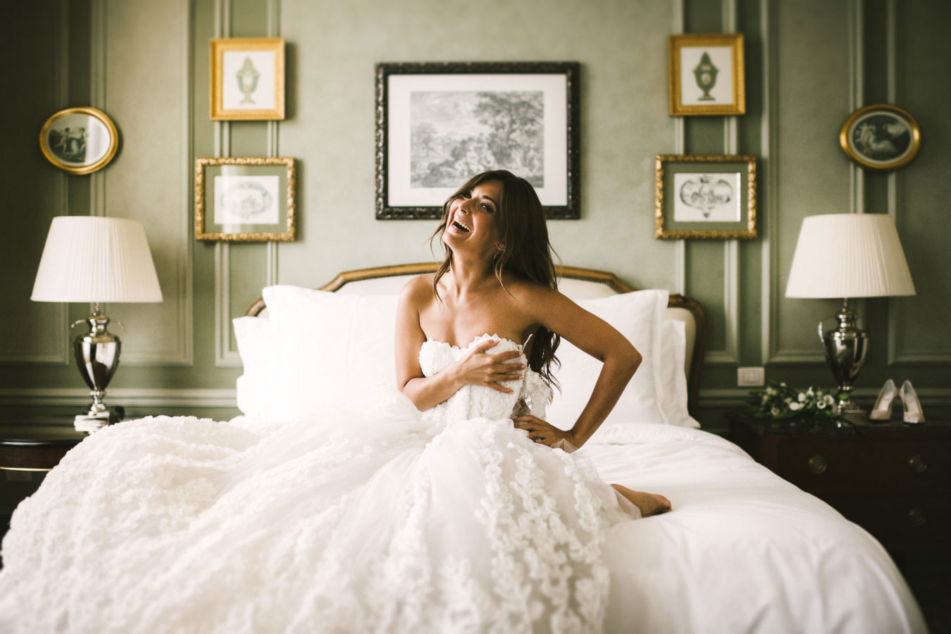 Elegant bridal portrait in Florence at Hotel Four Seasons Florence