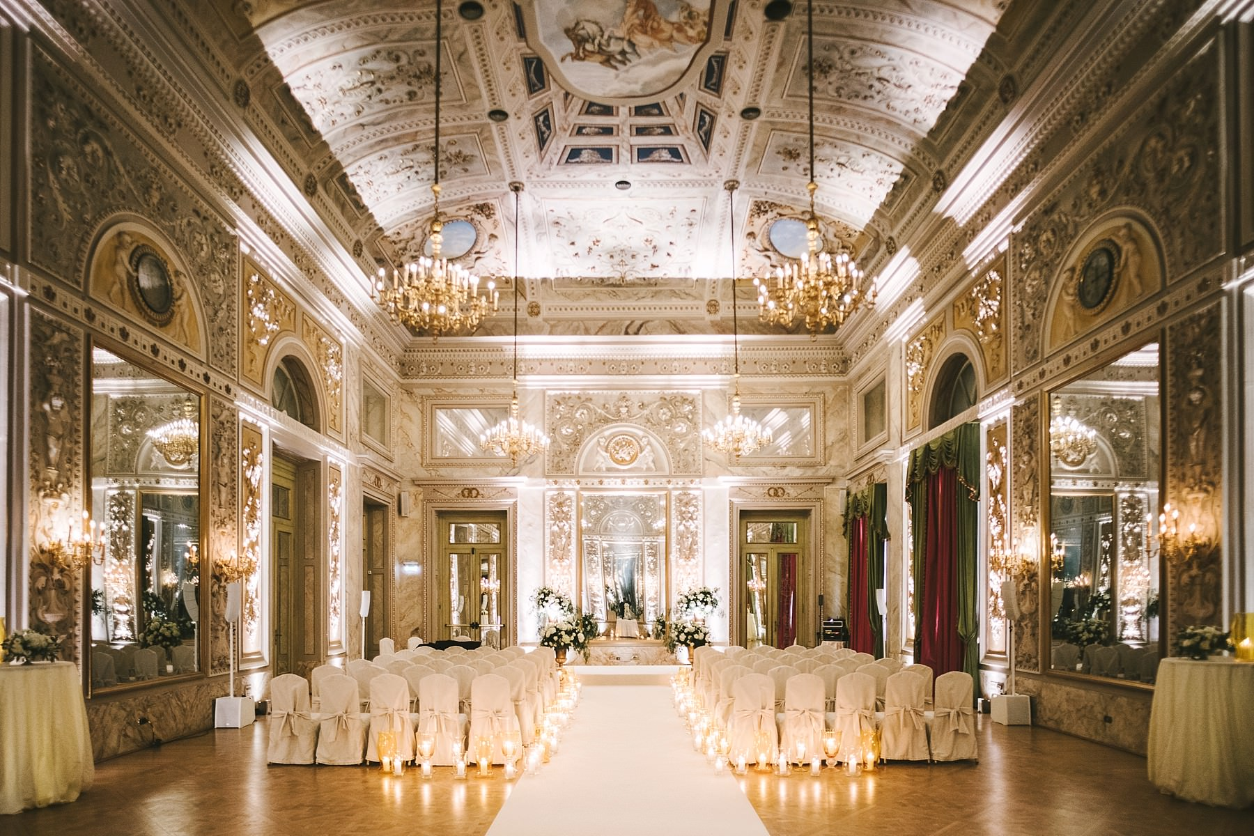 Lovely destination wedding ceremony at luxury hotel St. Regis Florence into Sala delle Feste ballroom