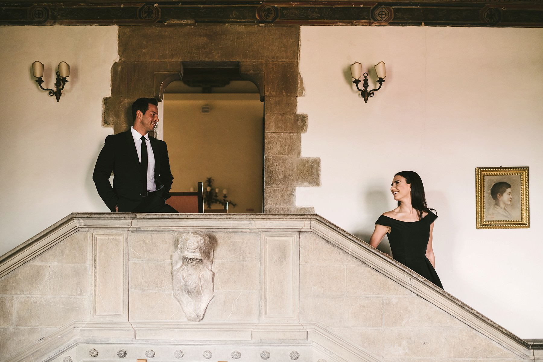 Couple portrait engagement photo shoot at the historical residence Torre di Bellosguardo in Florence