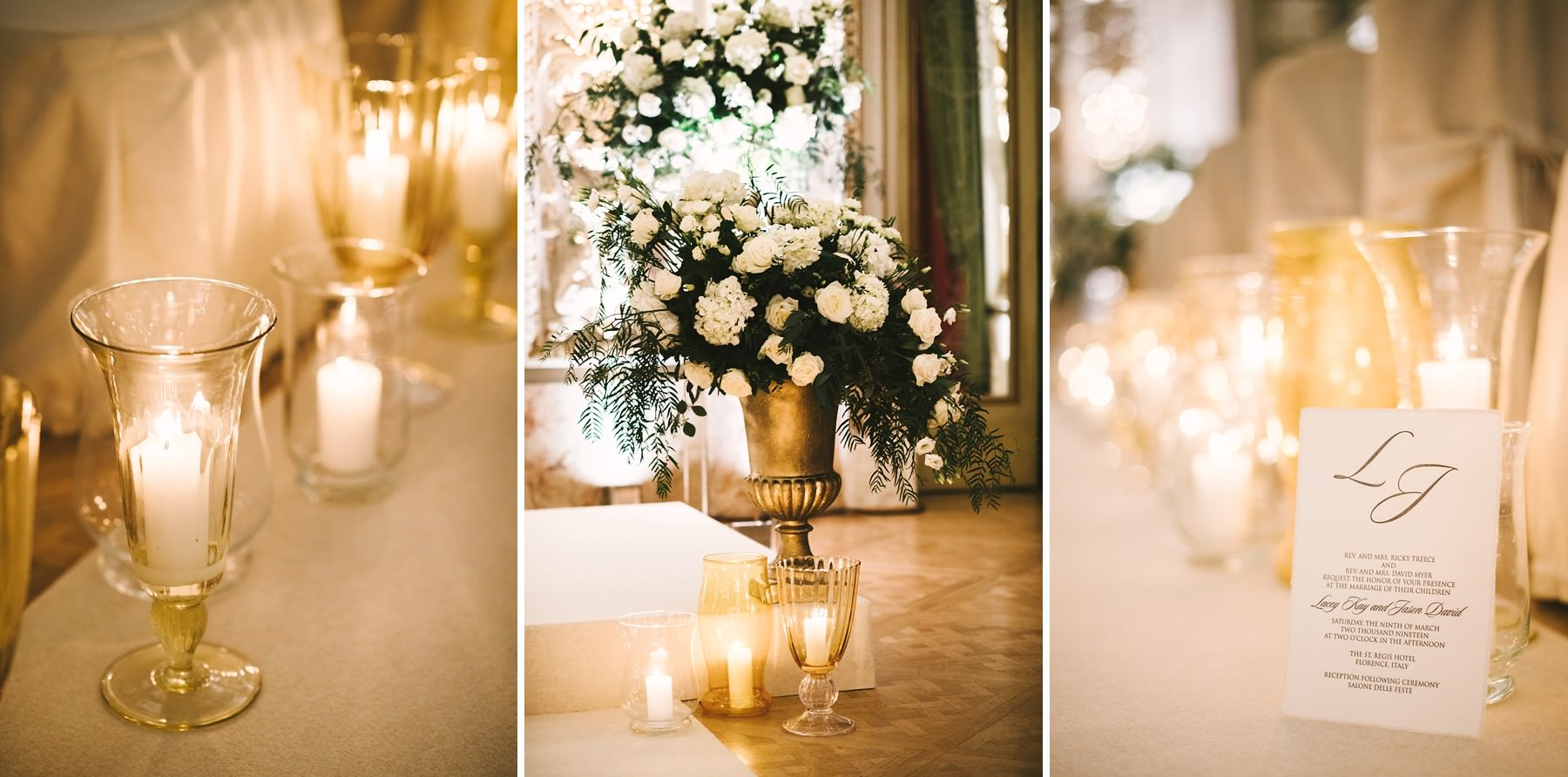Amazing and elegant destination wedding decor at St. Regis wedding in Florence at Sala delle Feste ballroom