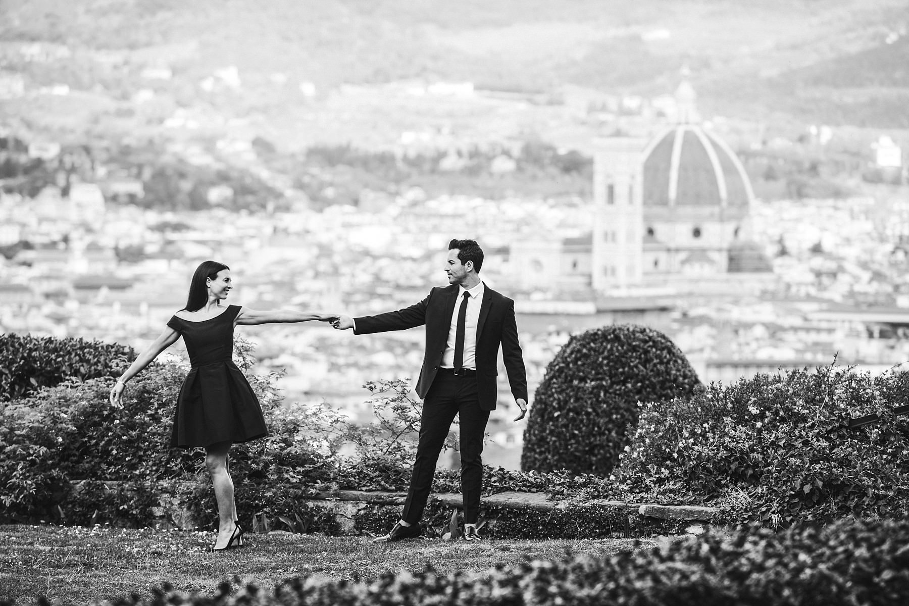 Spectacular and unique couple portrait engagement pre-wedding photo session at Torre Bellosguardo with the breathtaking scenery of Florentine Dome in the background