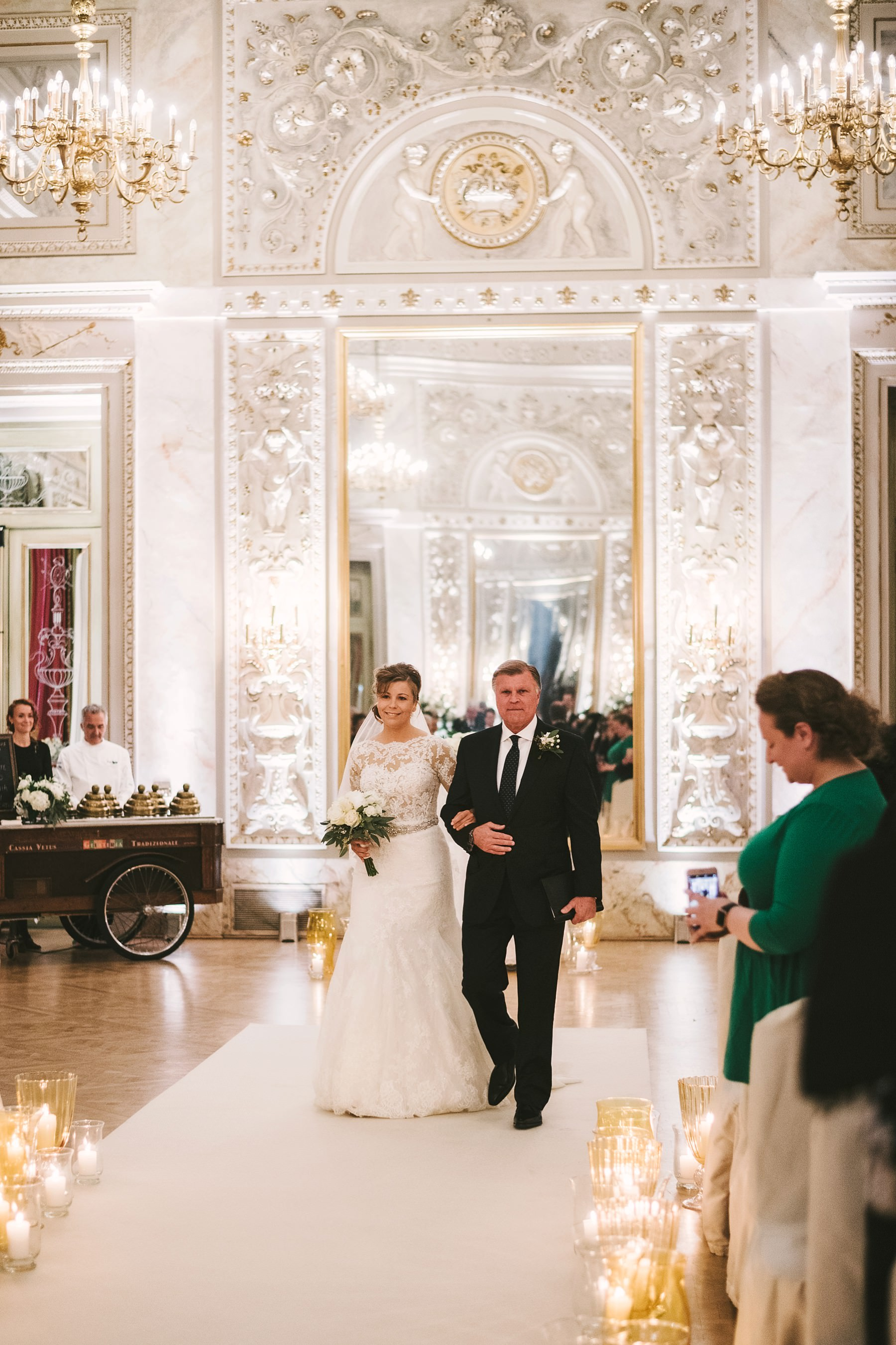 Lovely bride Lacey walks down the aisle at luxury hotel St. Regis Florence intimate destination wedding