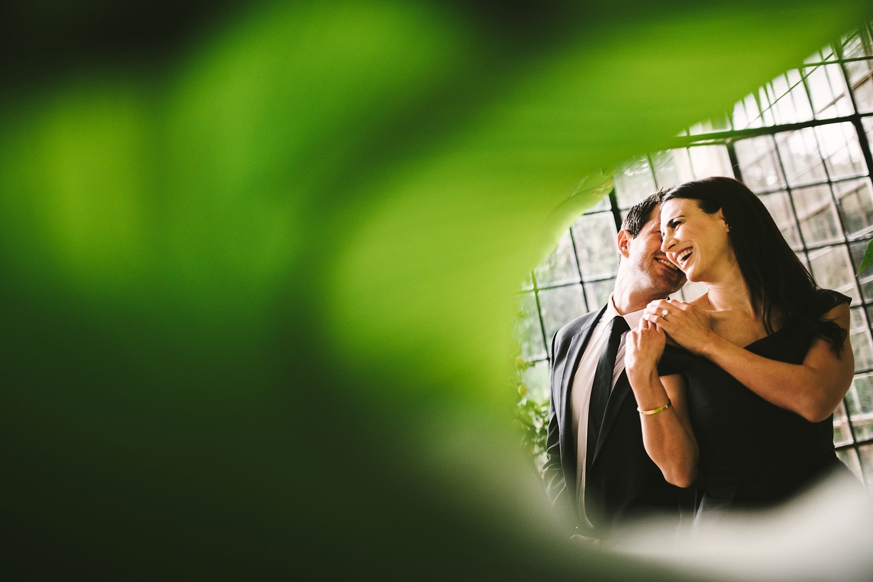 Creative and modern couple portrait at historical residence of Torre Bellosguardo near Florence