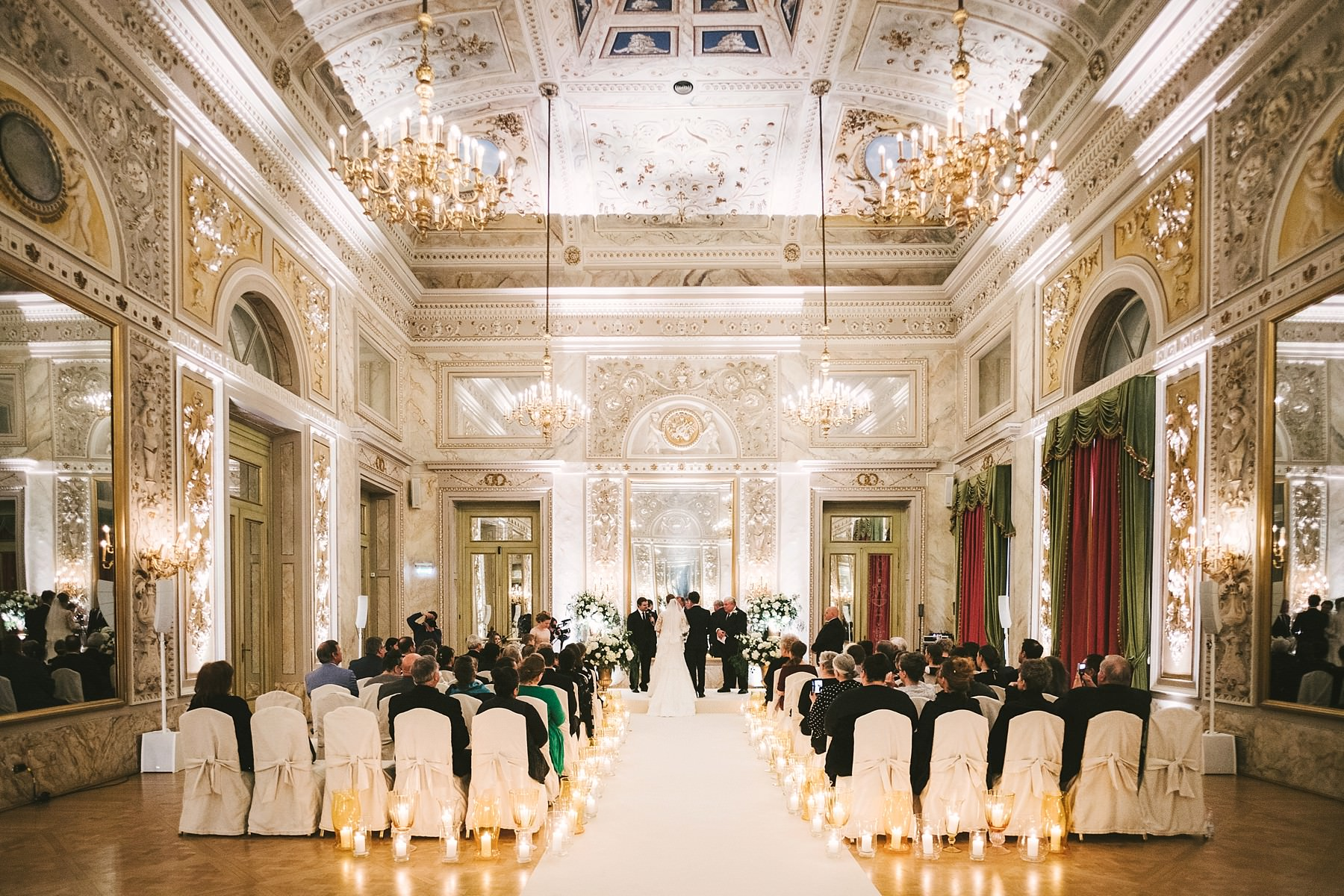 Gorgeous intimate destination wedding ceremony in Florence at Hotel St. Regis at Sala delle Feste ballroom