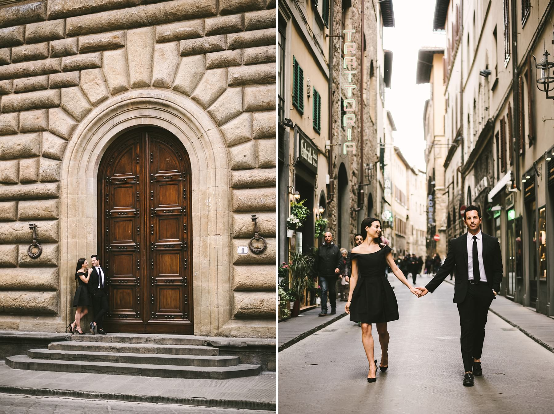 Elegant and unique romantic walk tour engagement photo shoot in the heart of Florence near Palazzo Gondi and Old Palace