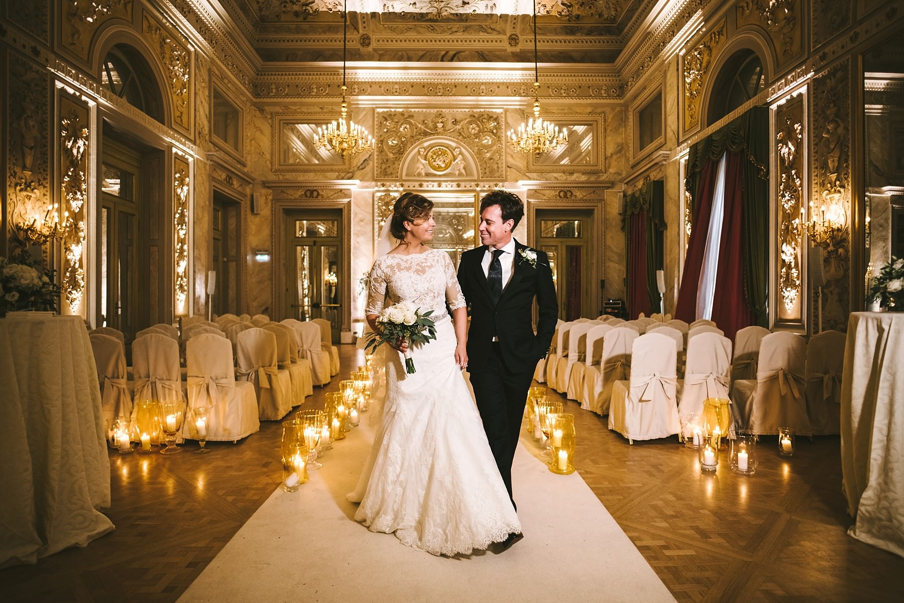 Bride and groom wedding photo into luxury hotel St. Regis Florence at Sala delle Feste Ballroom