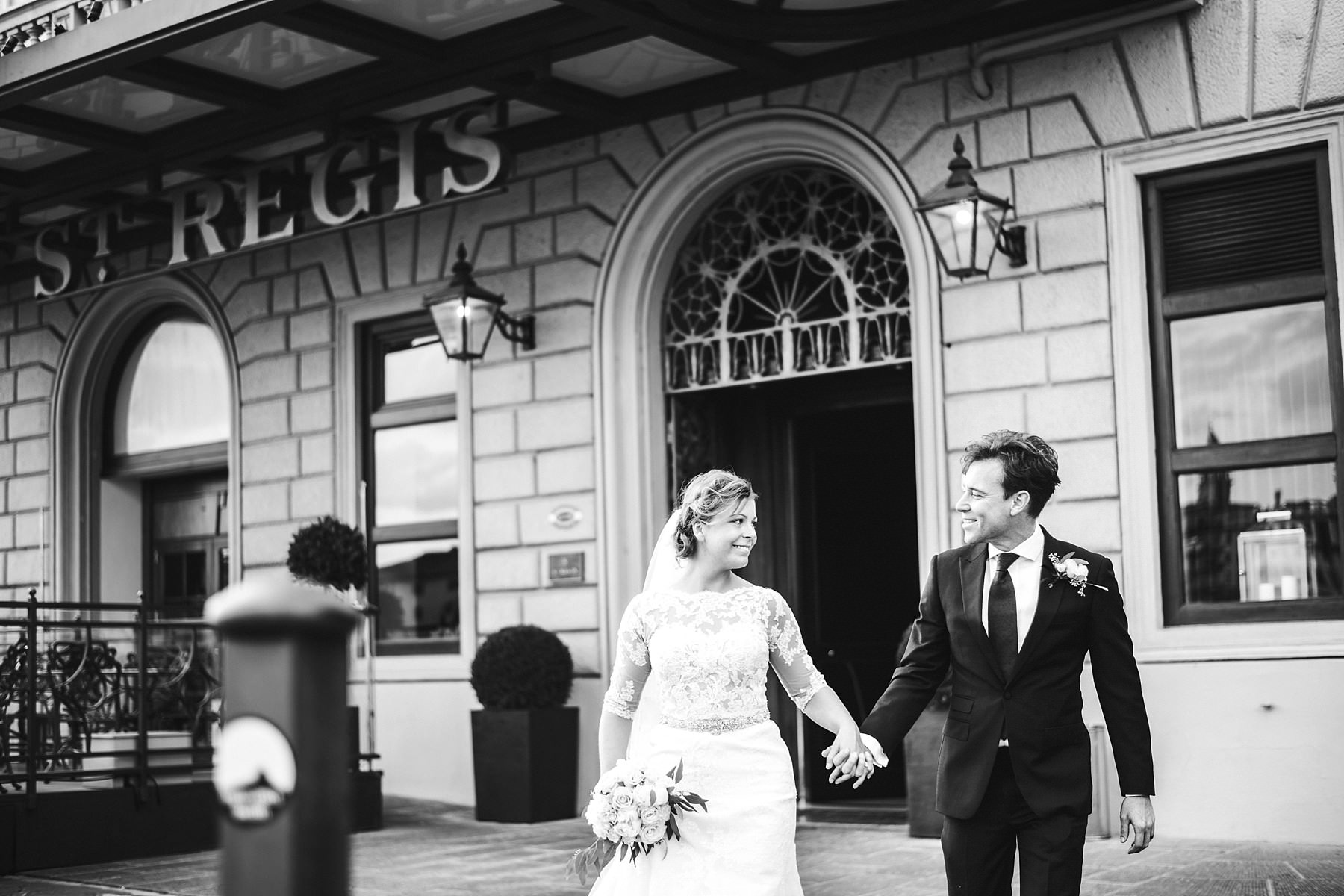 Bride and groom at their intimate wedding in Florence celebrated at the luxury hotel St. Regis