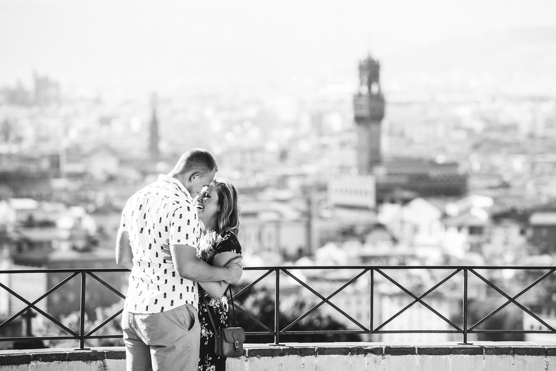 Surprise proposal photo shoot in Florence at San Miniato the most beautiful panoramic place in the city. Audio video recording of the proposal is available as optional
