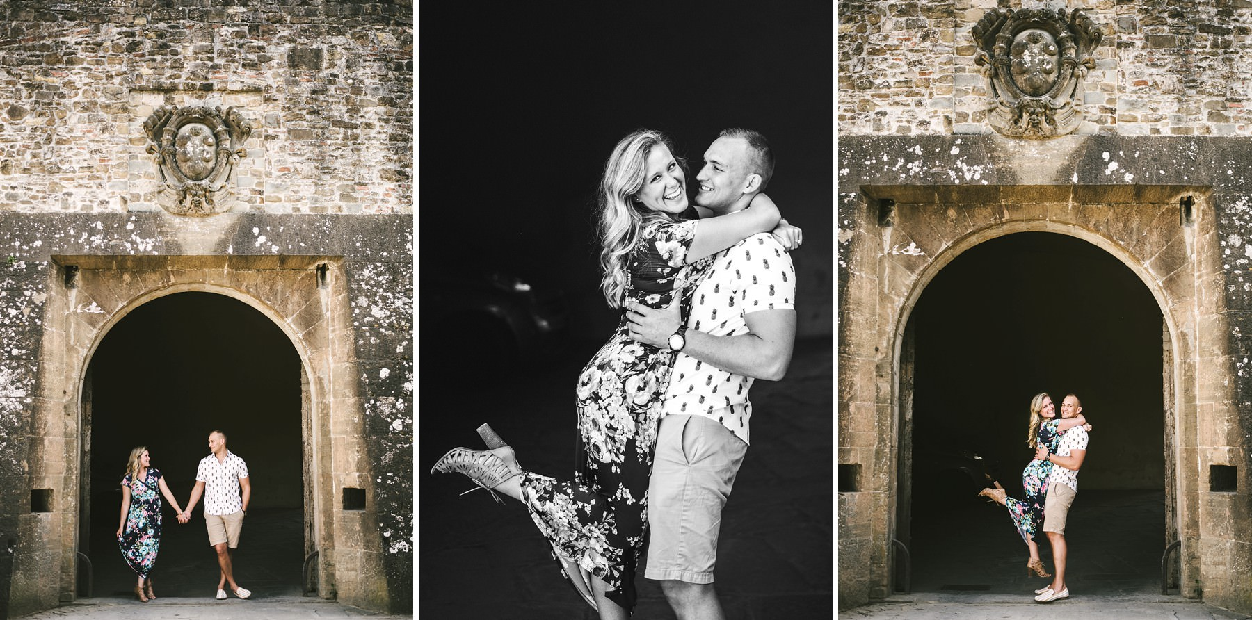 Lovely couple engaged in Florence. Surprise proposal photo session