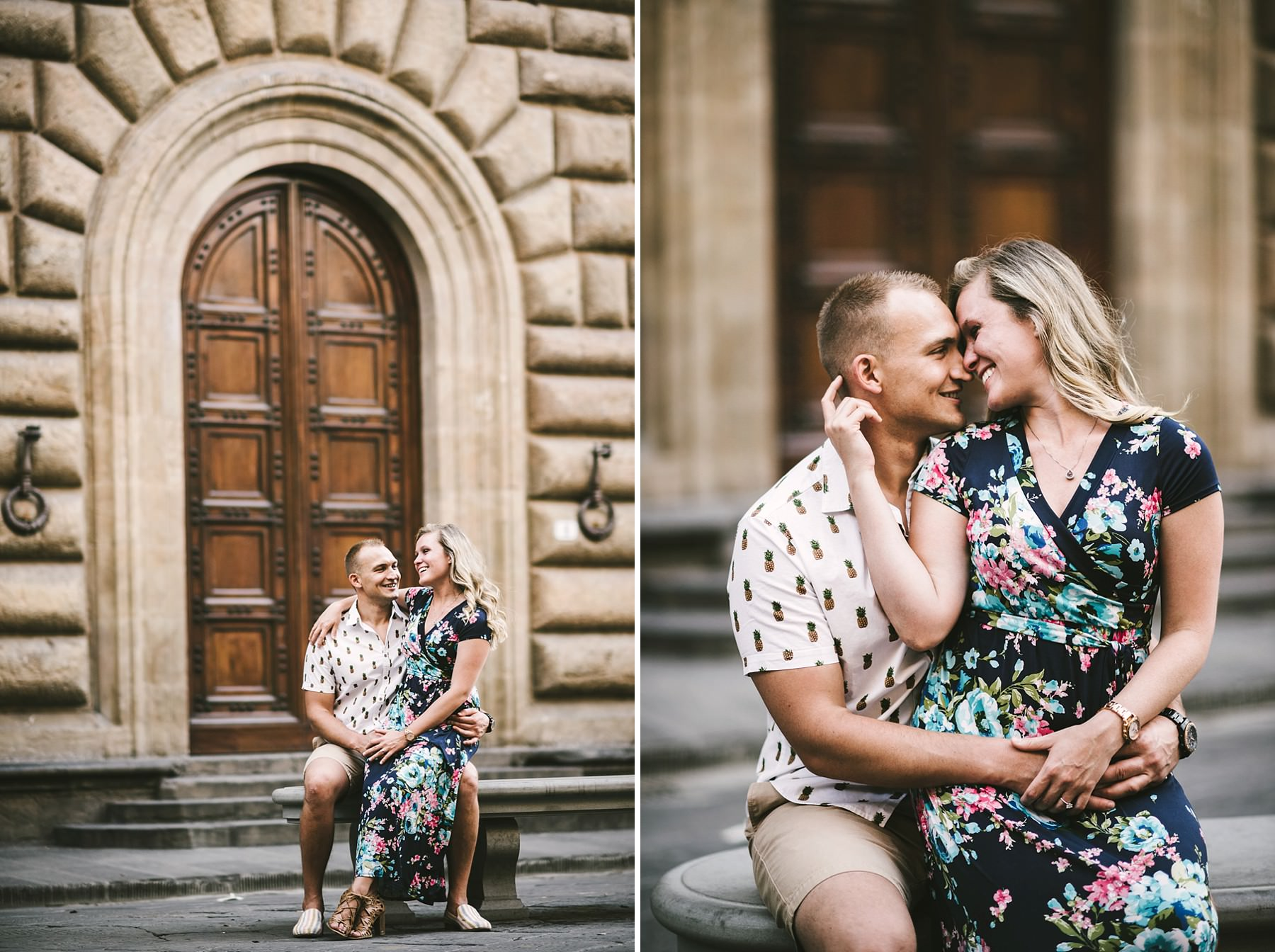 Lovely engagement photo session in the historic centre of Florence. Creative and modern portrait photography