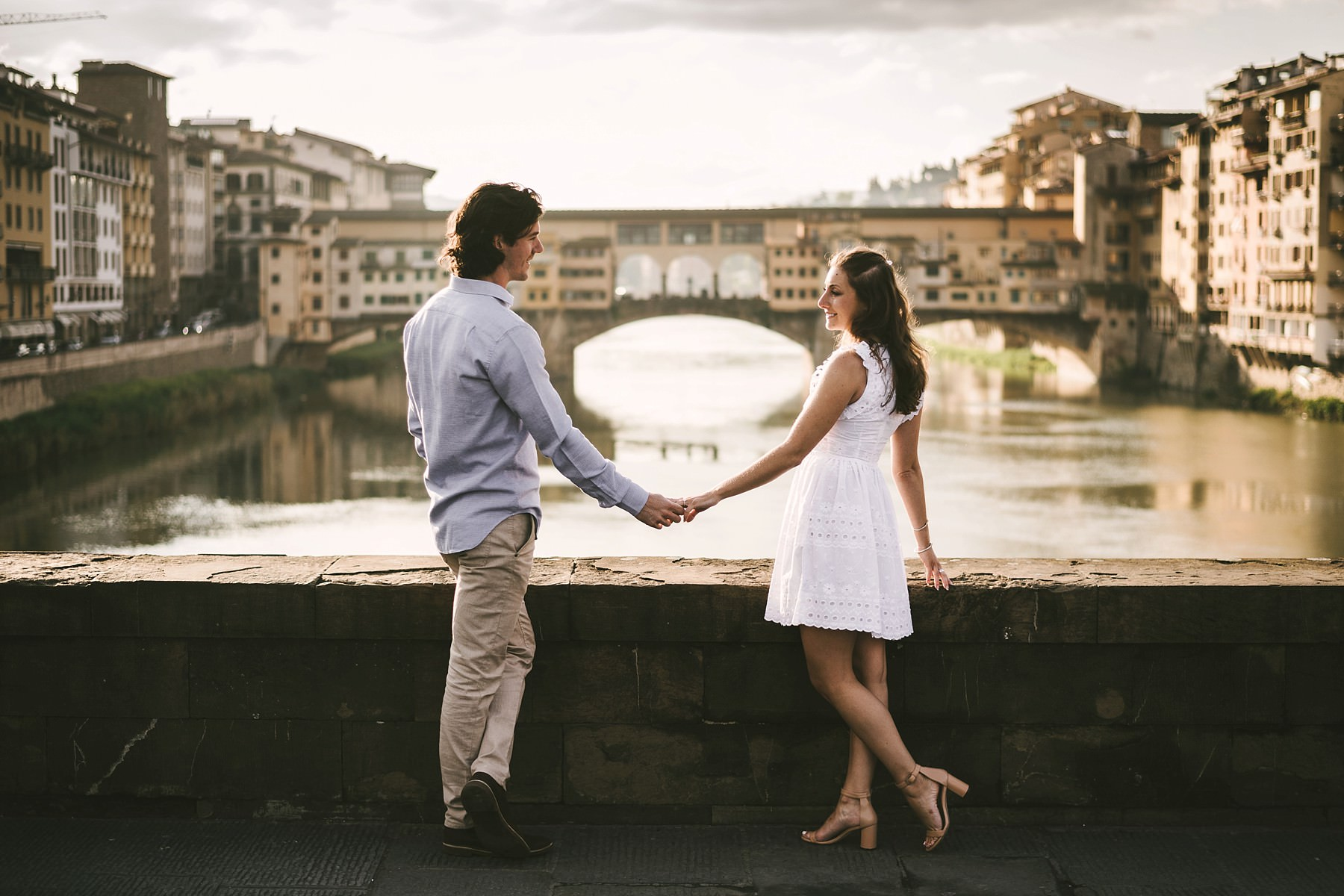 Beautiful couple engagement pre wedding photo shoot at Ponte Vecchio, Florence