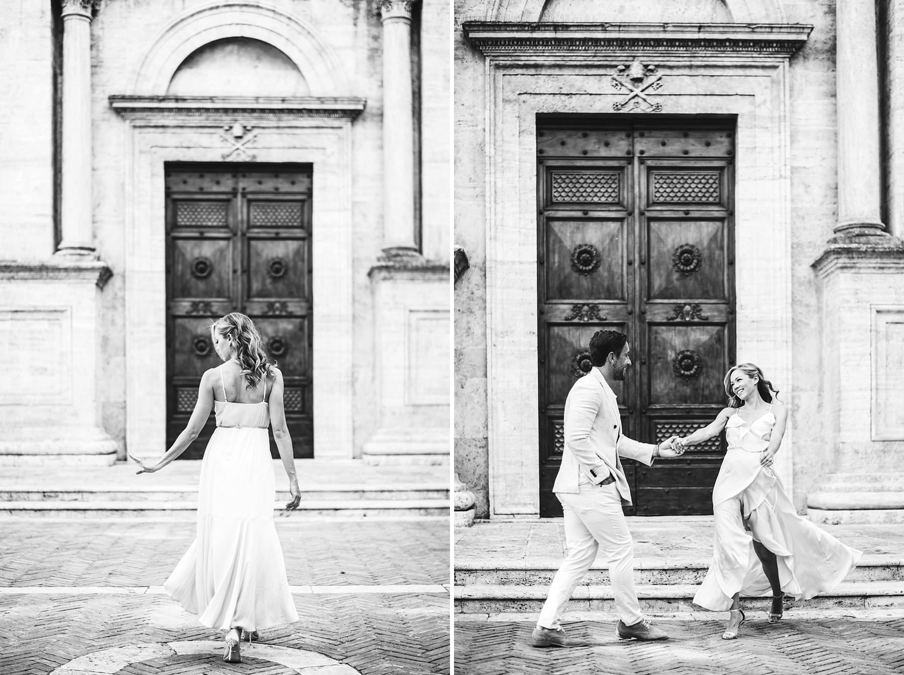 Exciting engagement couple portrait experience in the town of Pienza in Val D'Orcia area