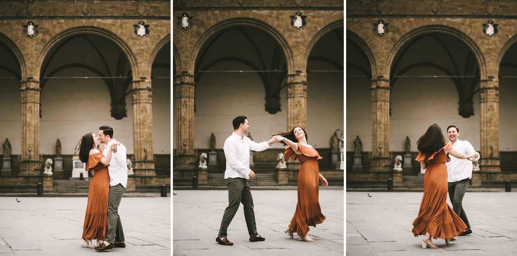 Exciting early morning couple portrait photo shoot in the charming city of Florence