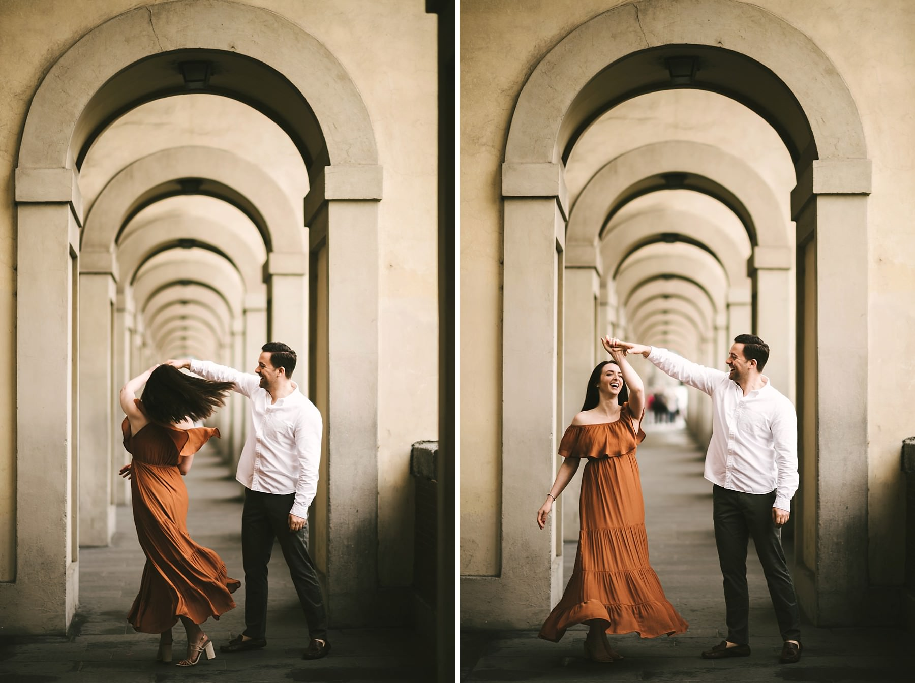 Engagement photo shoot in Florence at sunrise time with no tourist around the city. Most intimate photo shoot experience