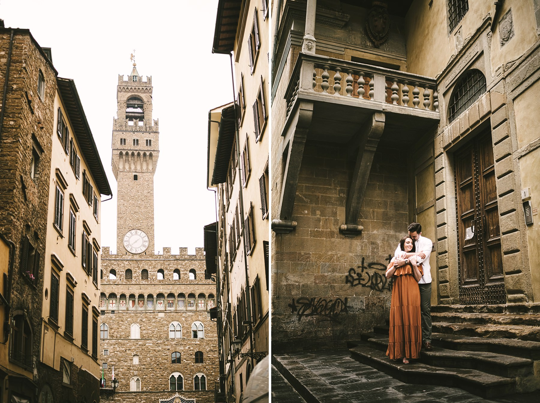 Take a walk tour in the heart of Florence at sunrise time. Anyone will be around you and the photo shoot experience will be awesome and unforgettable