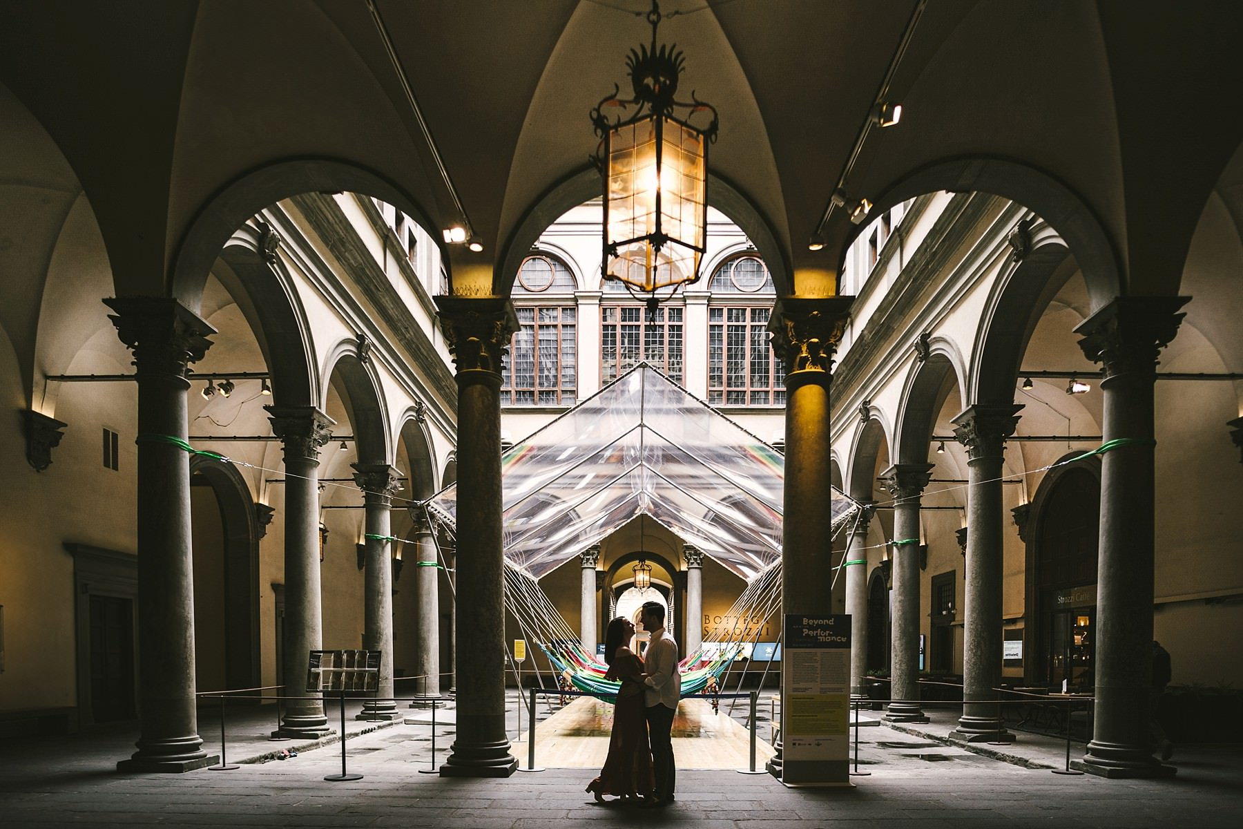 Elegant and romantic engagement photo shoot in Palazzo Strozzi in the very heart of Florence. Enjoy the early morning time for the best intimate and relaxed experience